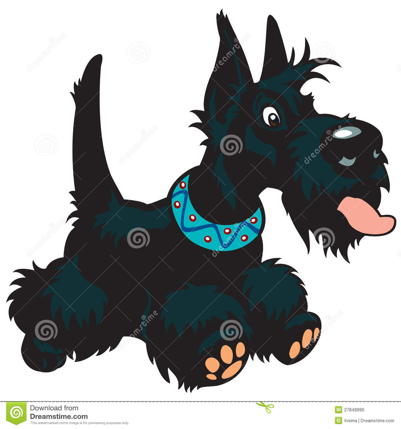 cartoon scottish terrier stock vector illustration of collar 27849990. Black Bedroom Furniture Sets. Home Design Ideas