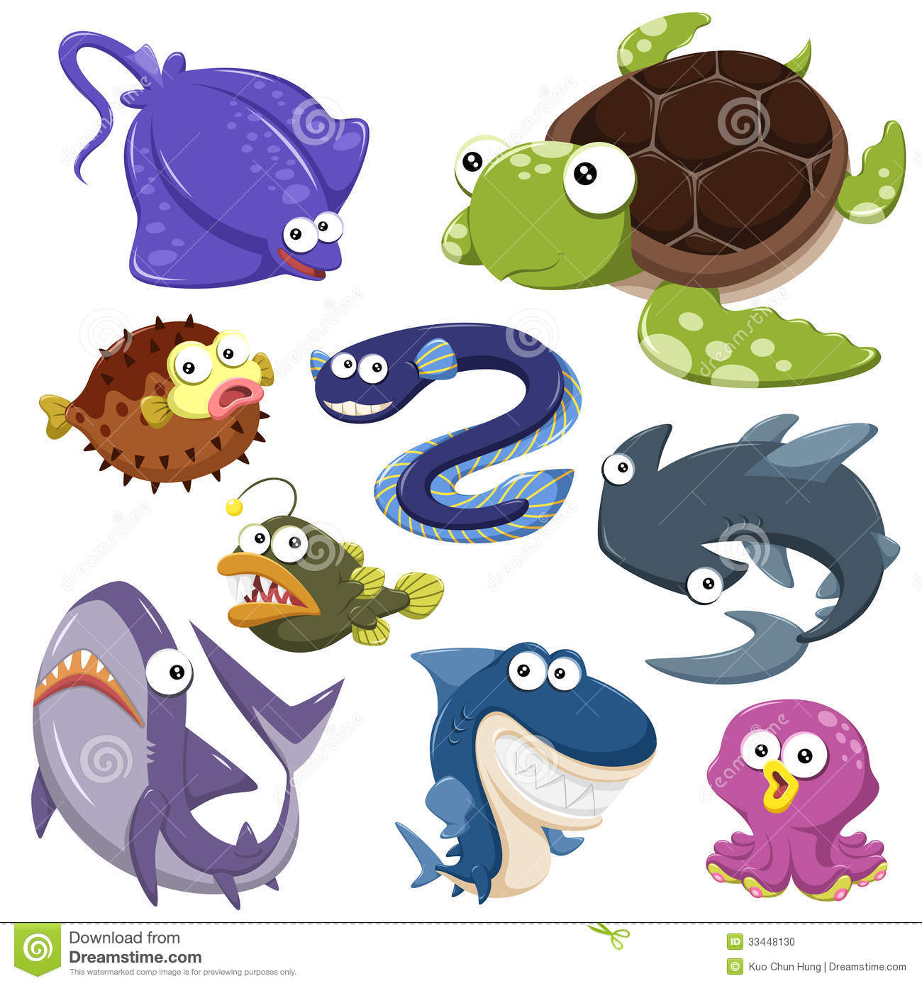 cartoon sea animal illusration collection stock photo image
