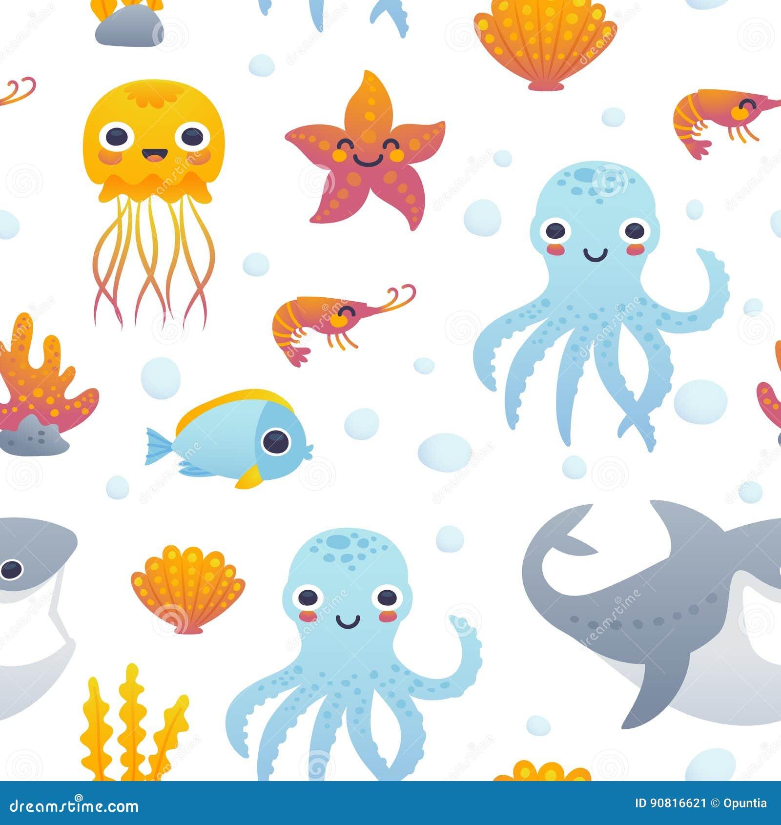 cartoon sea animals pattern royalty free illustration sea creatures clip art sea creatures clip art