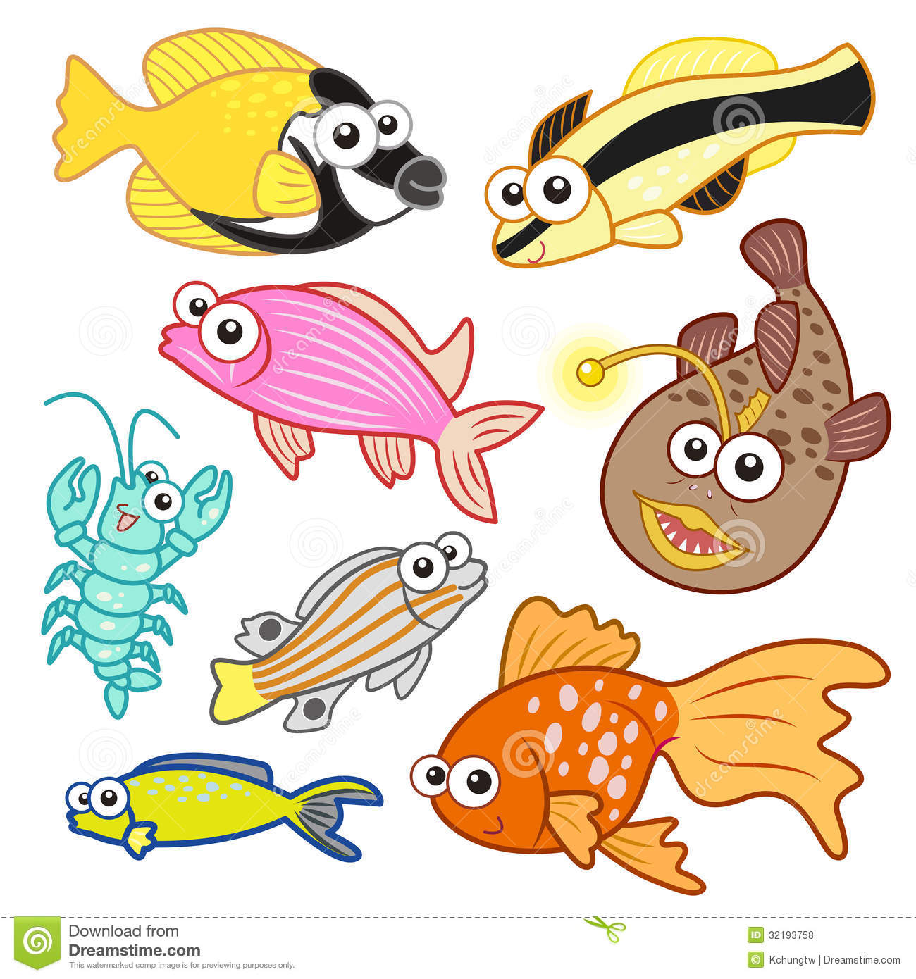 Cartoon: Cartoon Sea Animals Set With White Background Royalty Free