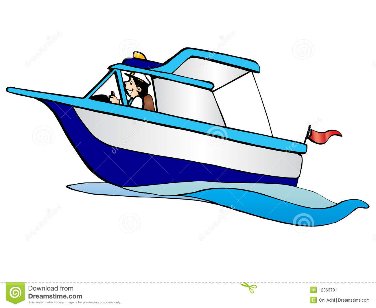 Vector illustration of cartoon sea boat for hire.