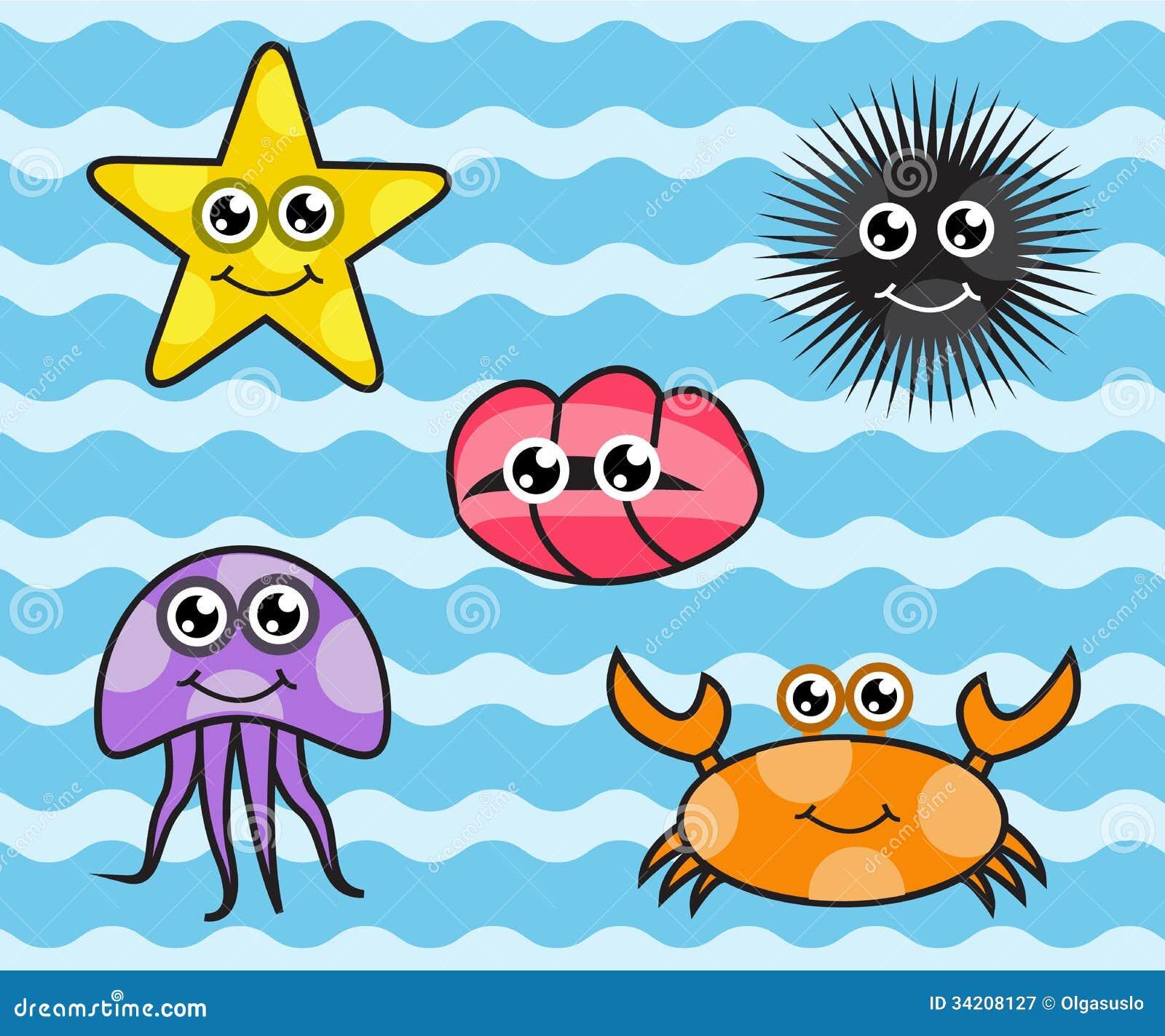 cartoon sea creatures stock illustration  illustration of cartoons