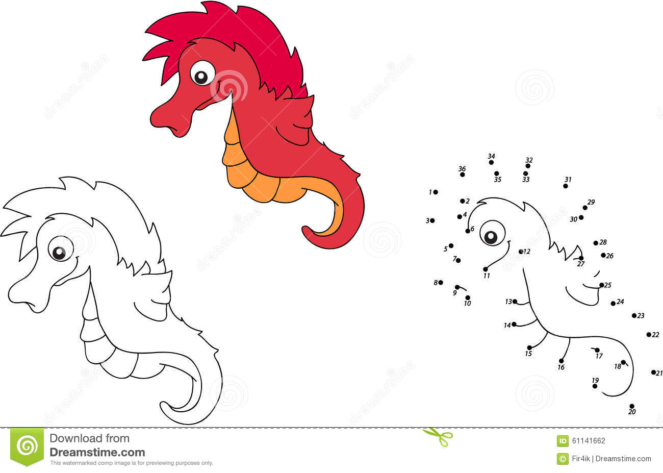 cartoon sea horse vector illustration coloring and dot to dot