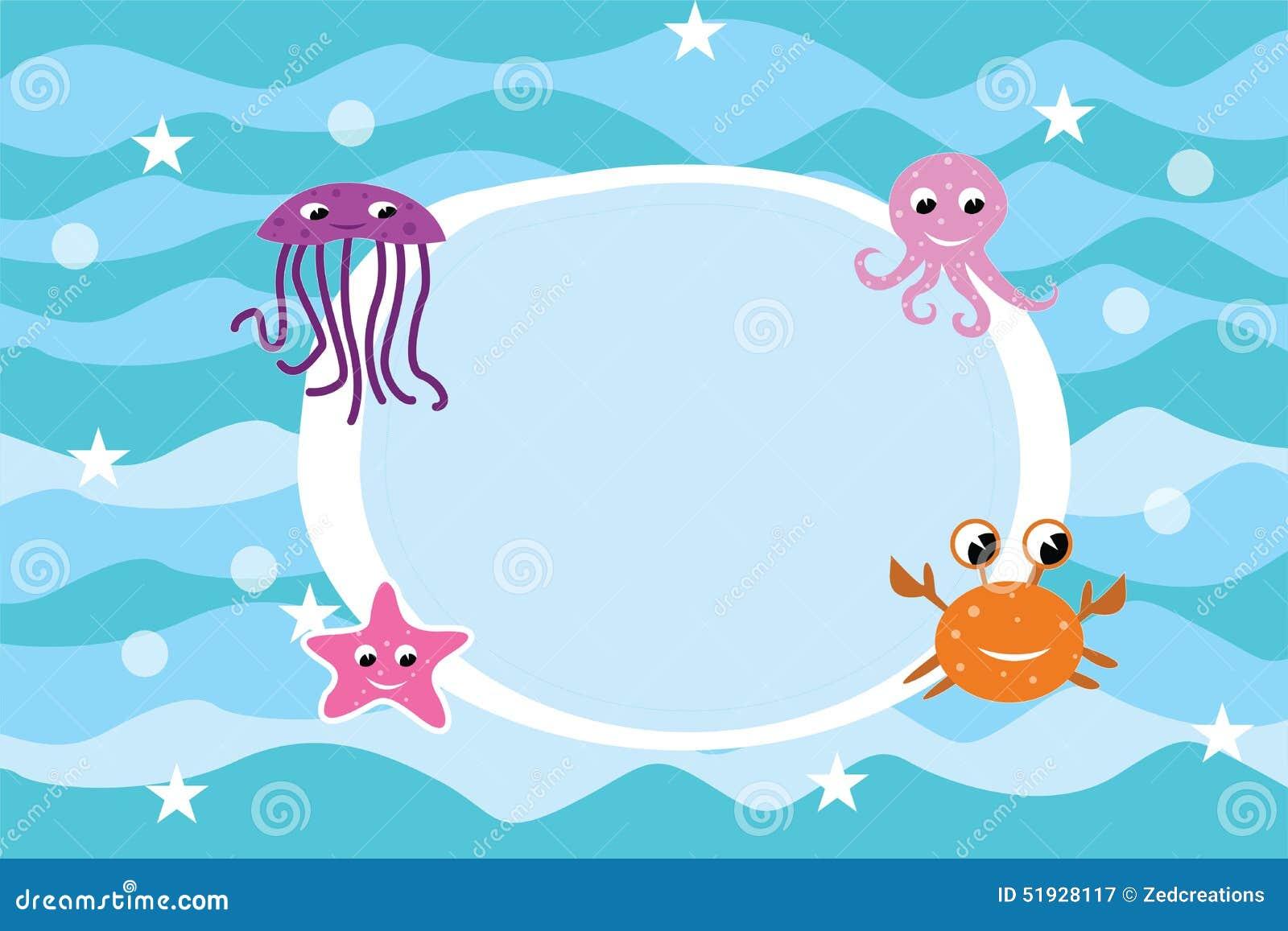 Cartoon Sea Life Frame Background Stock Illustration Illustration