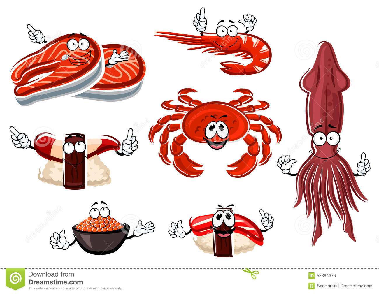 Cartoon seafood and animals characters stock vector for Animals that are included in the cuisine of seafood