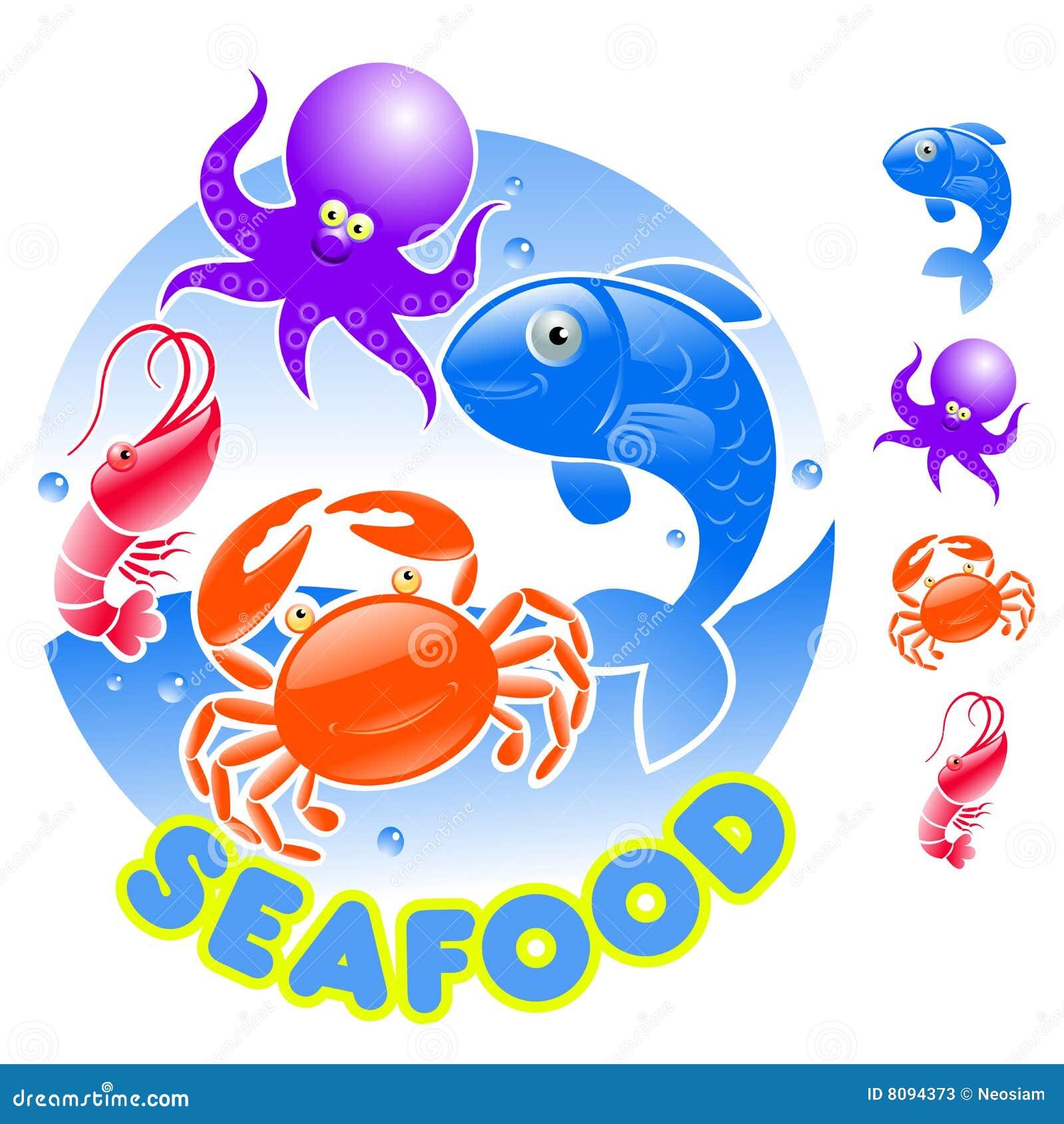 cartoon seafood logo stock photos   image 8094373
