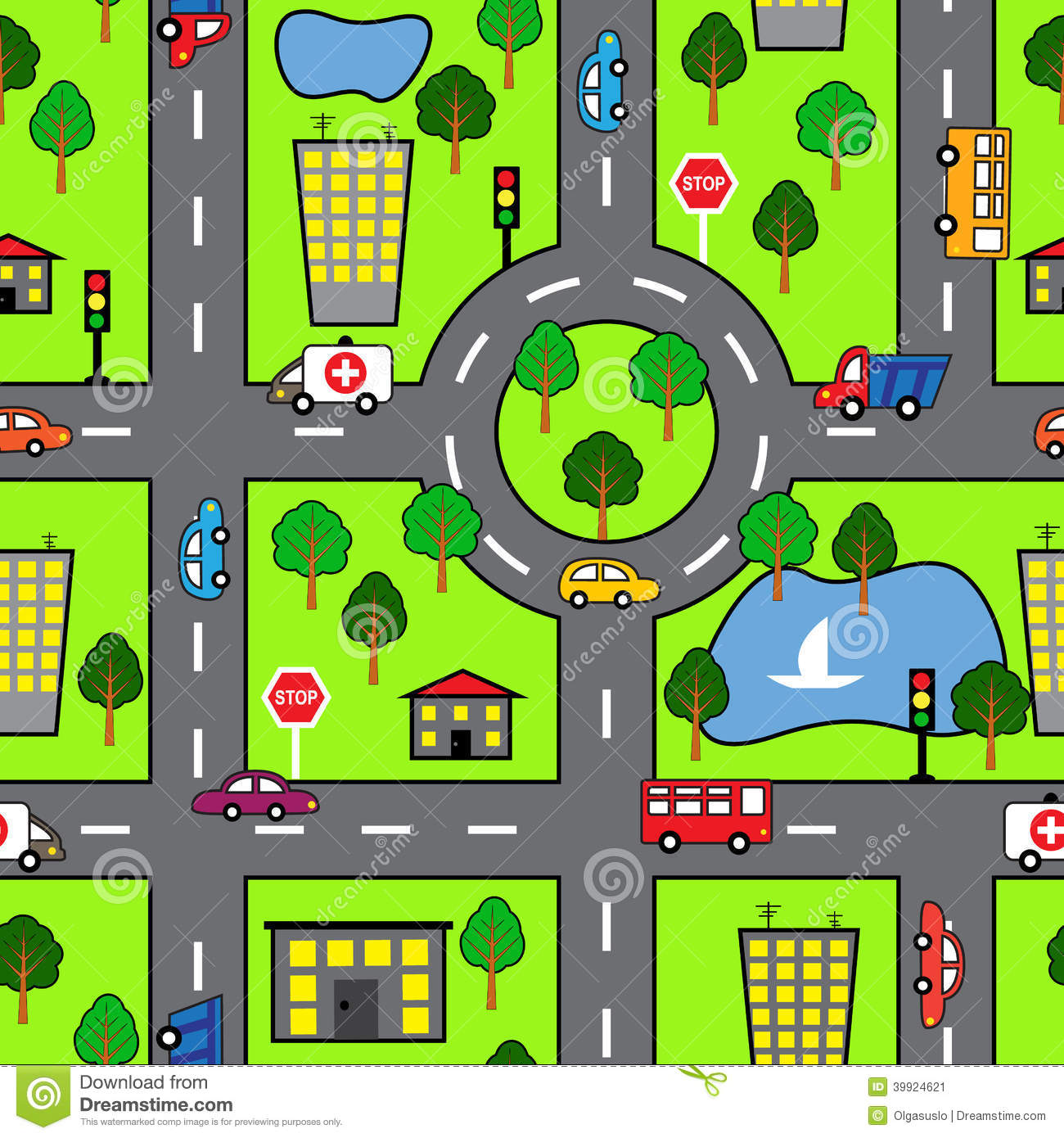 Cartoon Seamless Pattern With Bright Road The Car And The