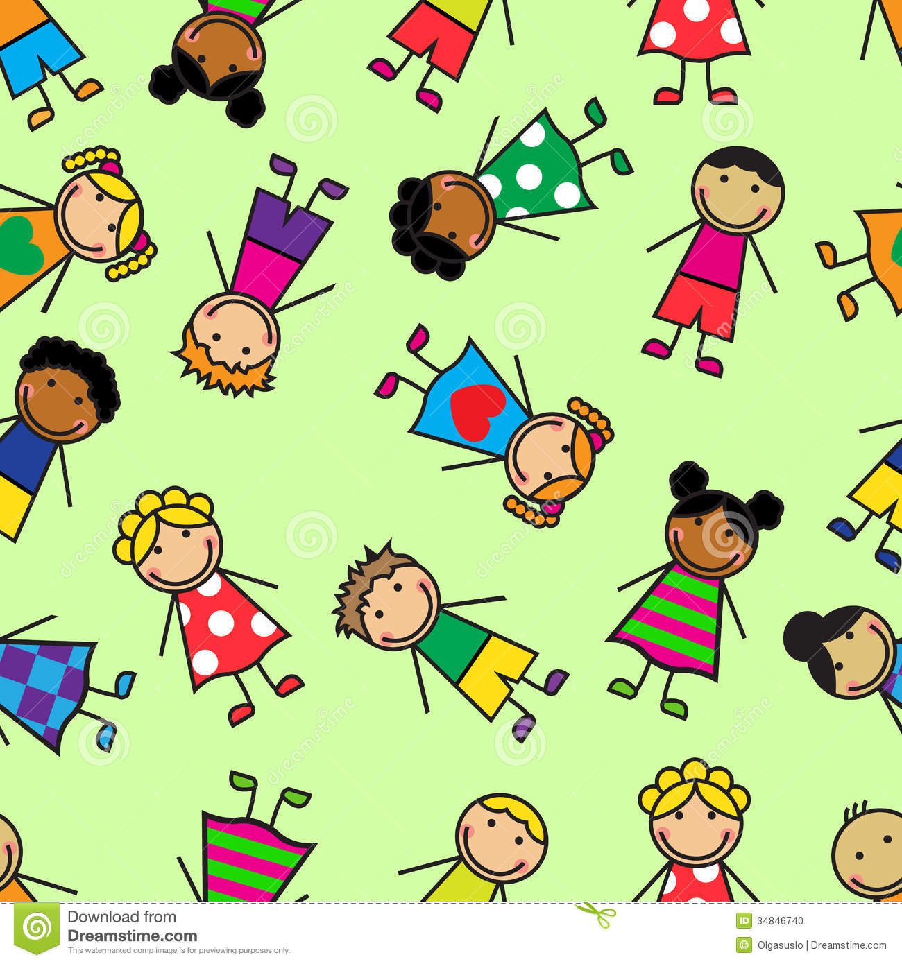 Cartoon Seamless Pattern With Children Stock Photo Image 34846740