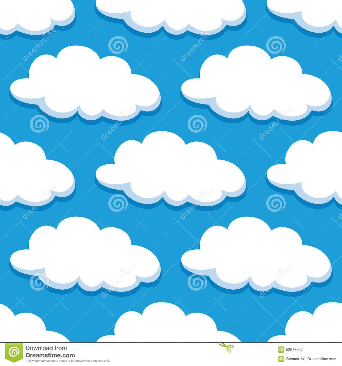 cartoon seamless pattern with white clouds stock vector