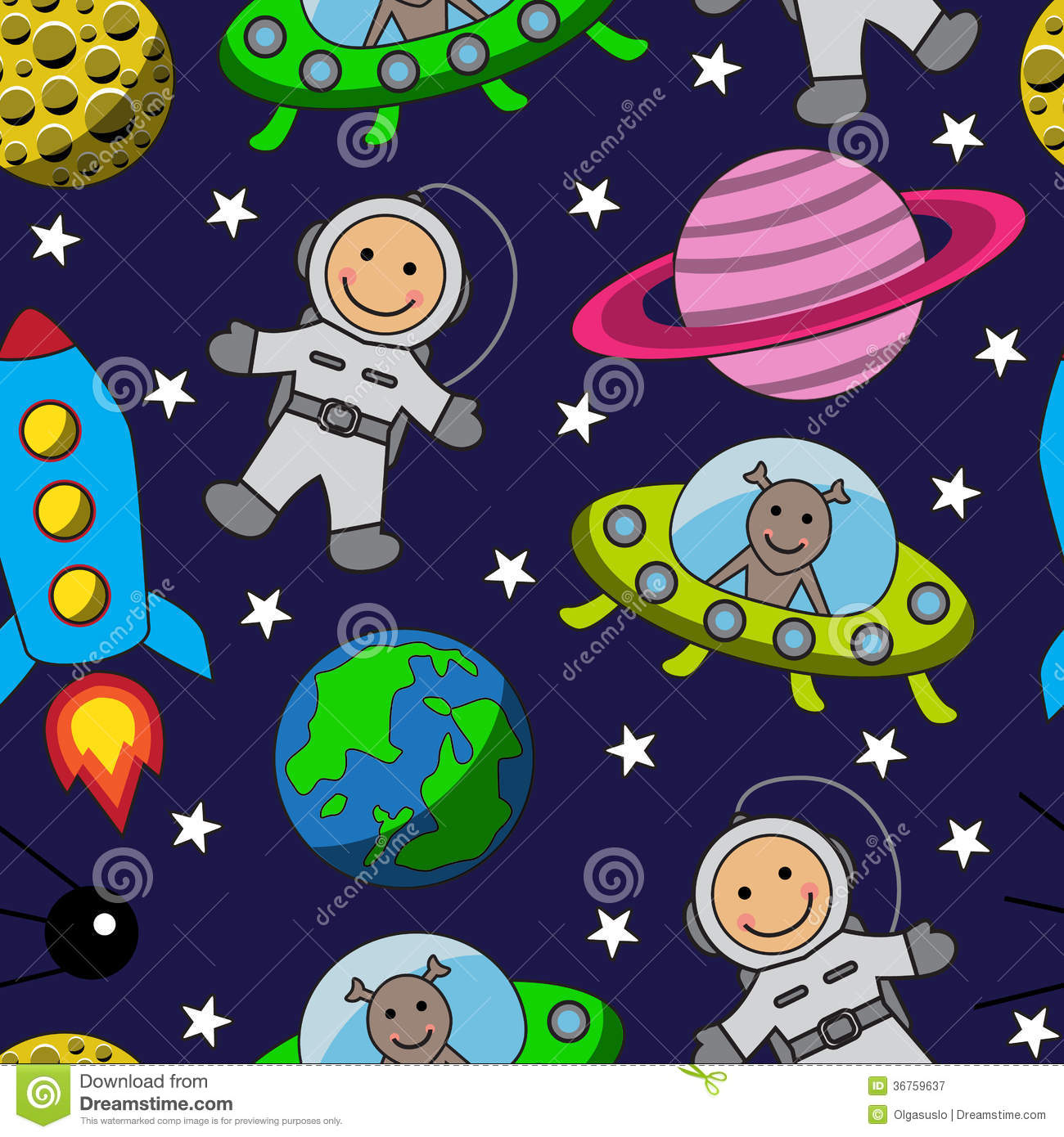 Cartoon seamless space with an astronaut. planets, stars and rocket.