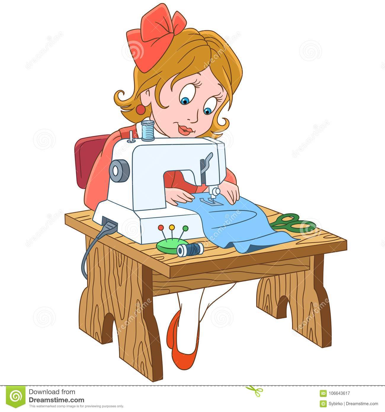 Cartoon seamstress working on electric sewing machine