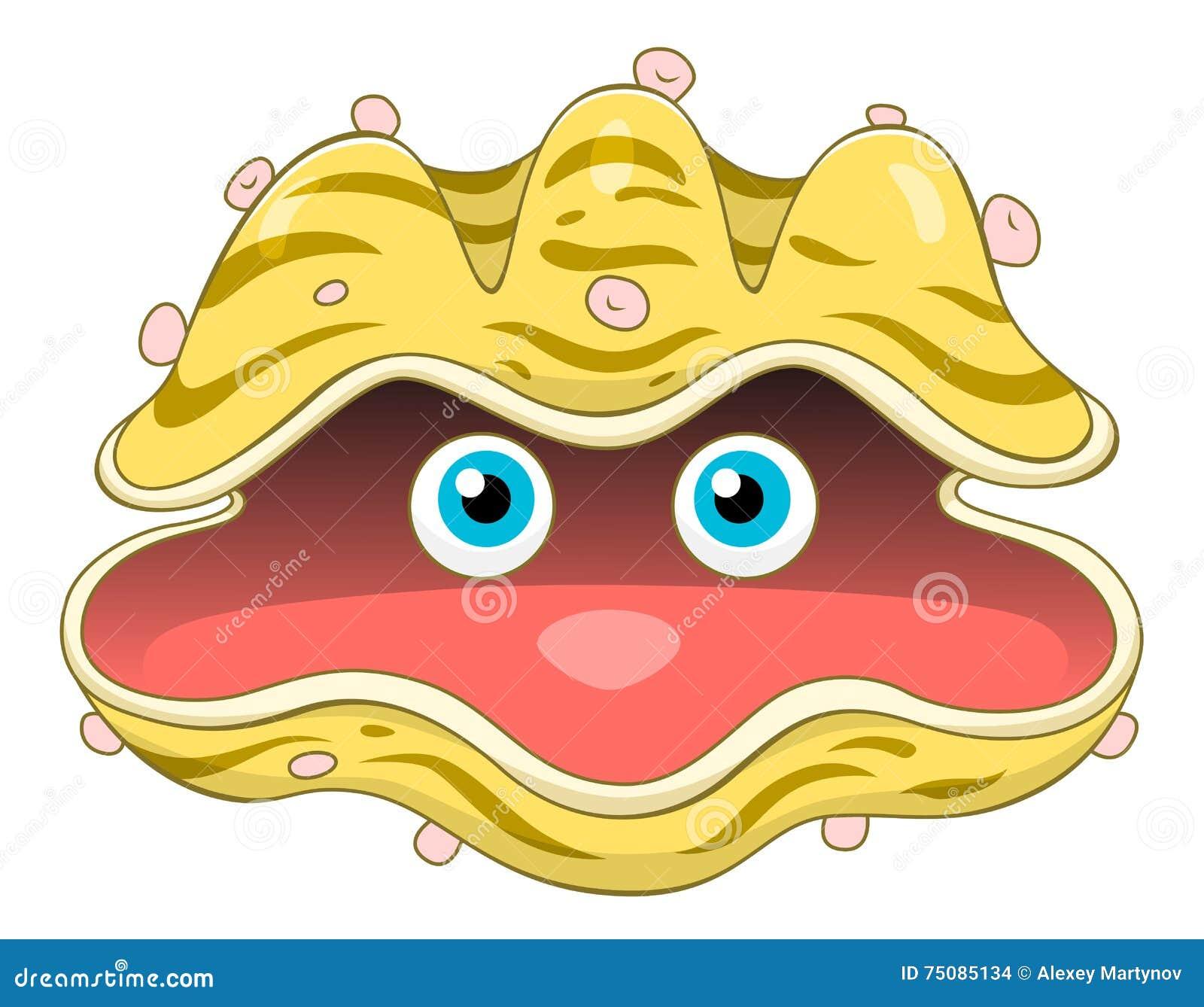 Cartoon seashell stock vector. Image of underwater, funny ...