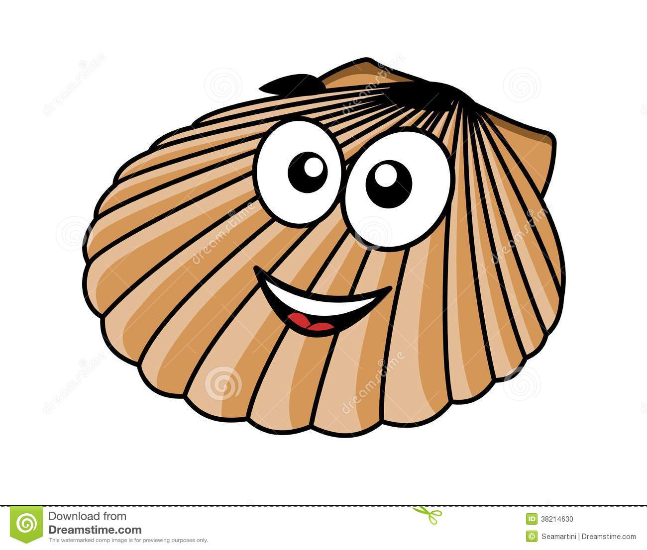 Cartoon seashell with a happy smile and the fan shaped shell of a ...