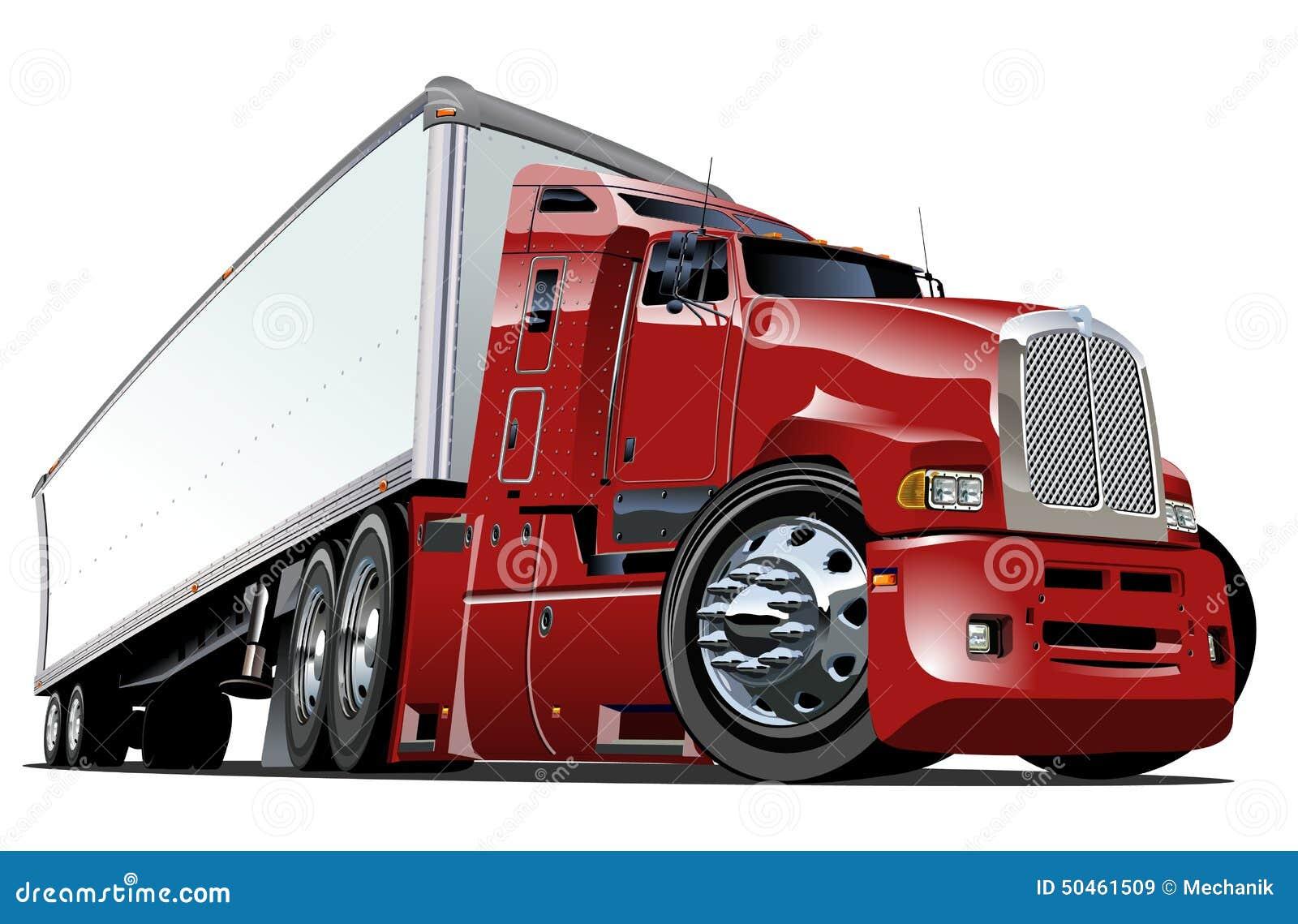 Cartoon semi truck stock vector. Illustration of cargo ...