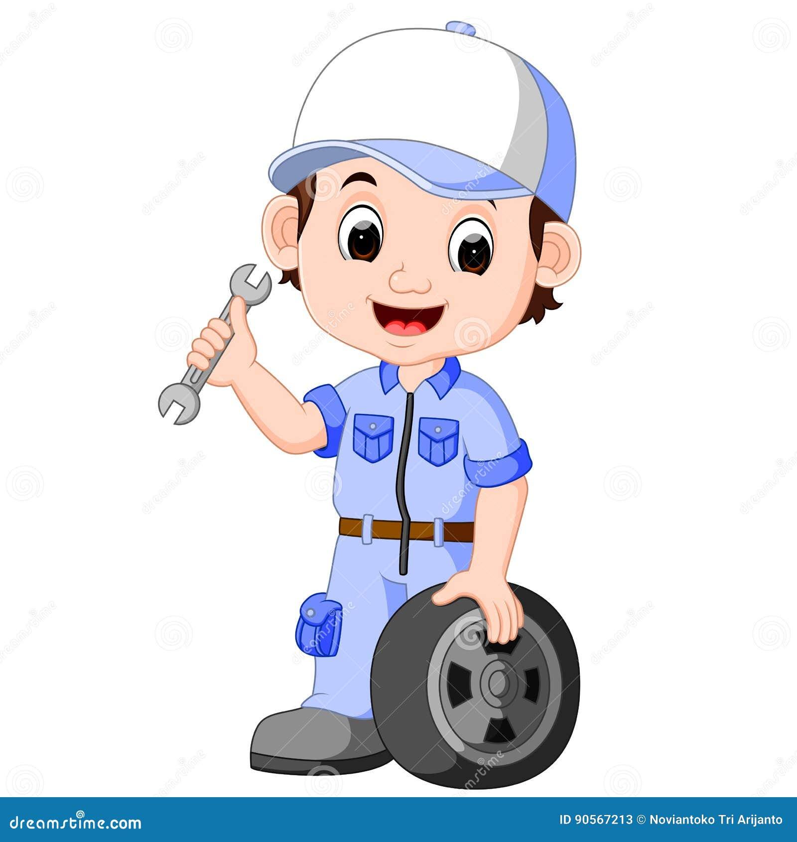 cartoon serviceman stock vector image 90567213 auto mechanic tools clipart auto mechanics clip art free