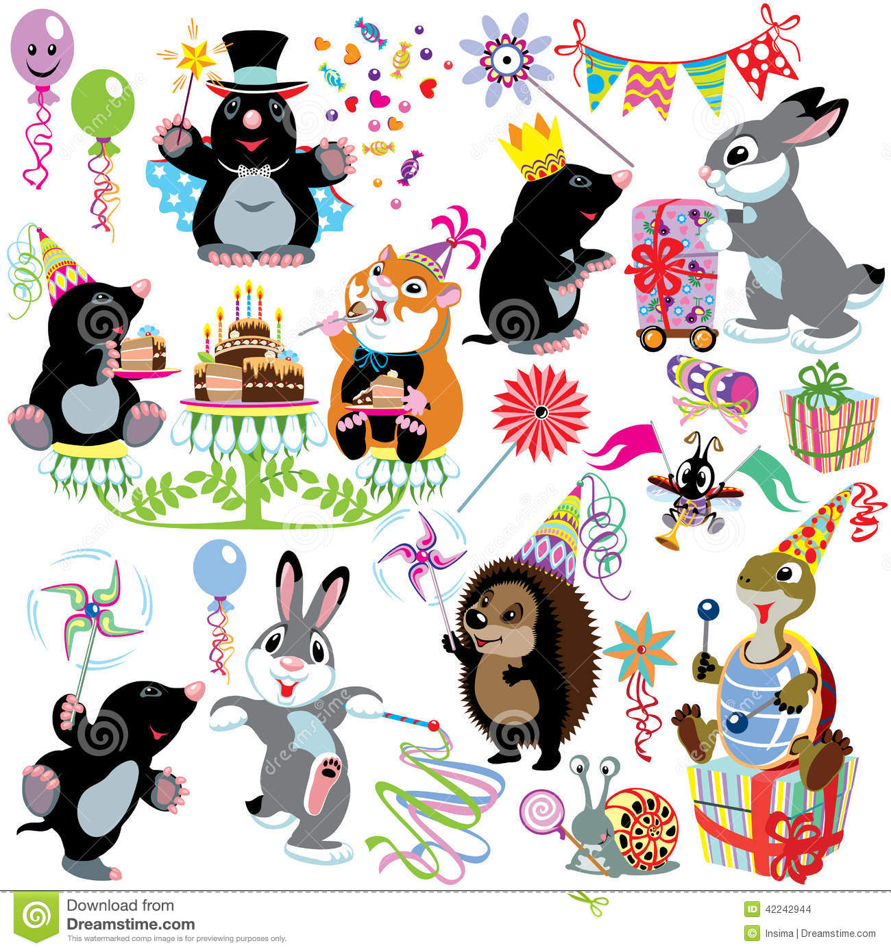 Cartoon Set With Birthday Party Stock Vector - Image: 42242944
