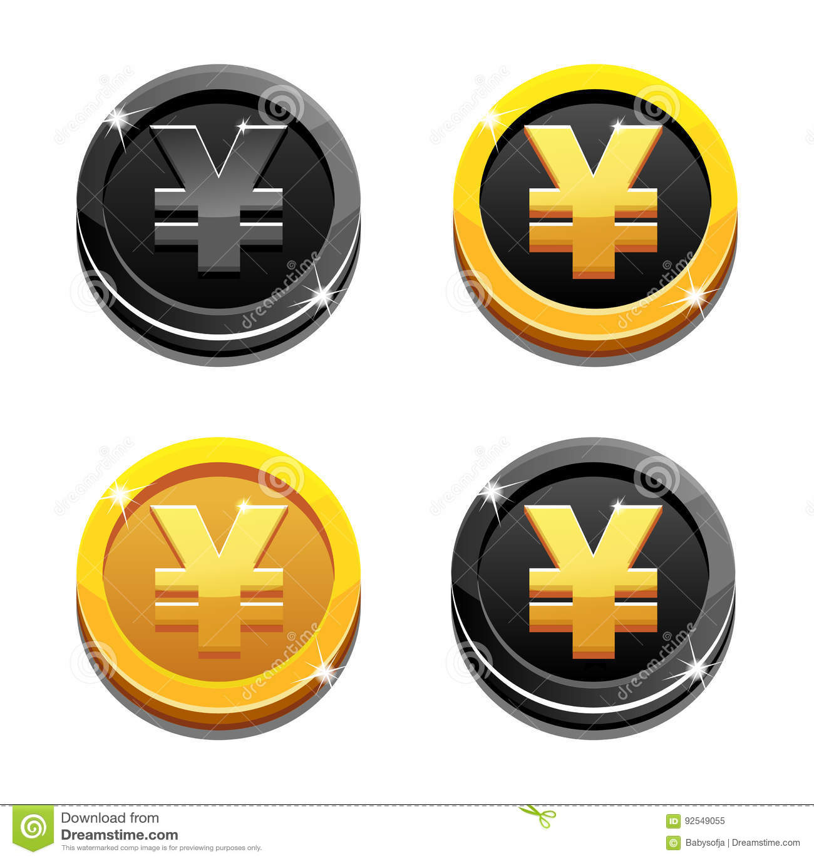 Cartoon set golden and black yen coin yuan symbol chinese money cartoon set golden and black yen coin yuan symbol chinese money biocorpaavc