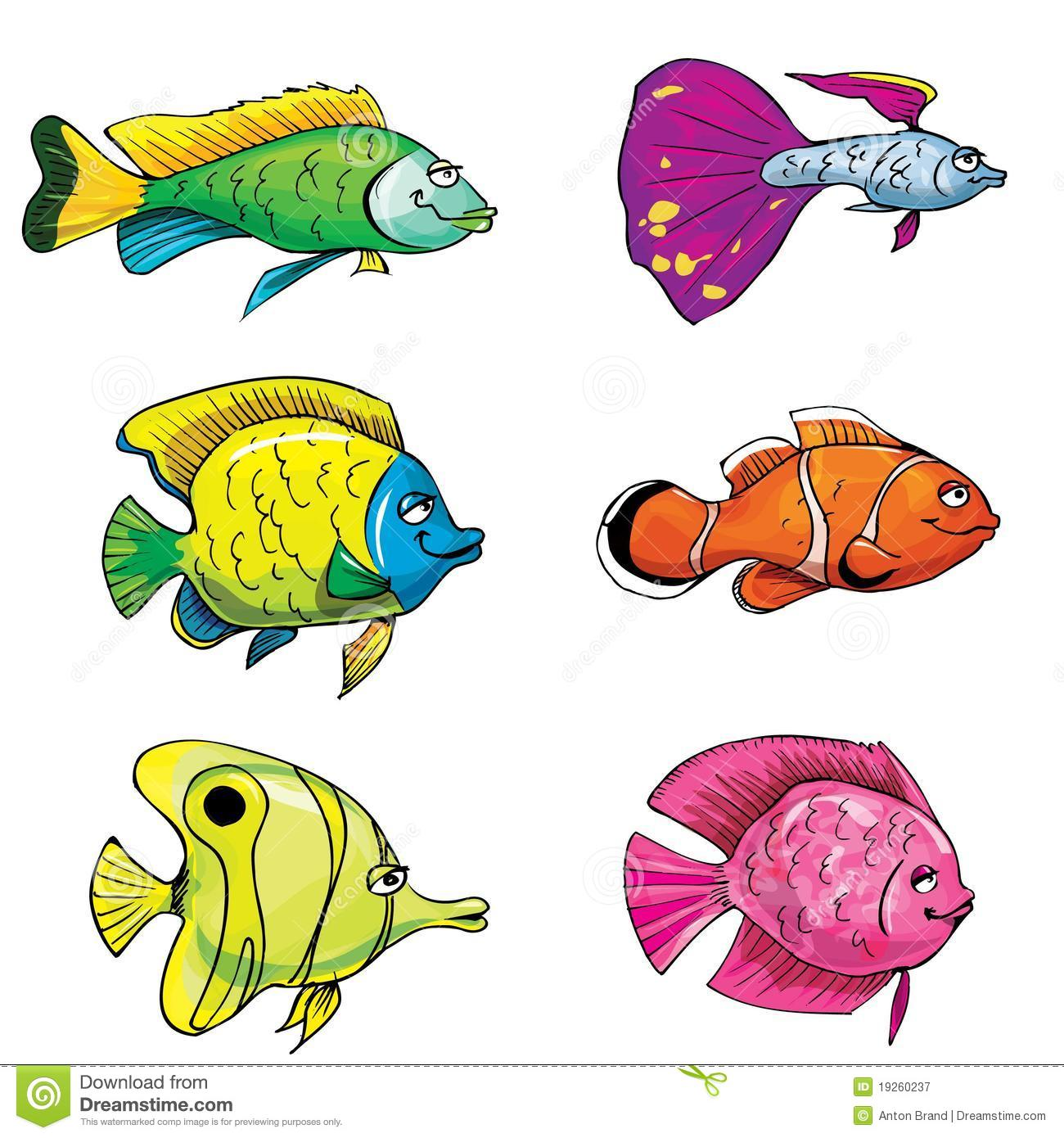 Cartoon Set Of Tropical Fish Stock Vector - Illustration ...