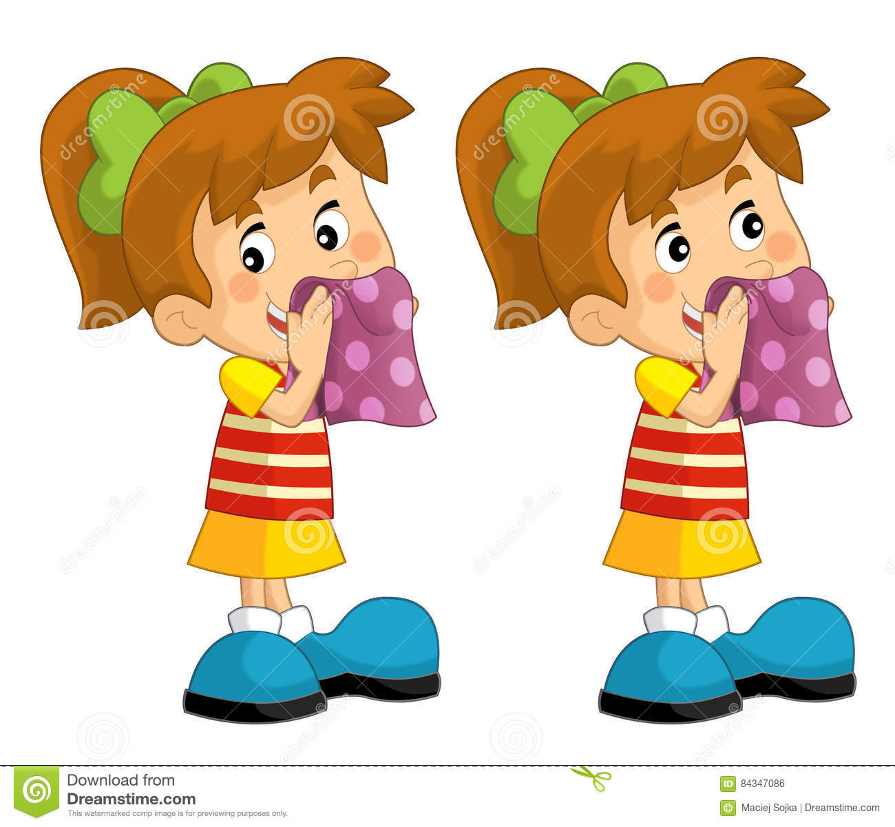 Cartoon Set Of Young Girls Wipe The Faces With A Towel ...