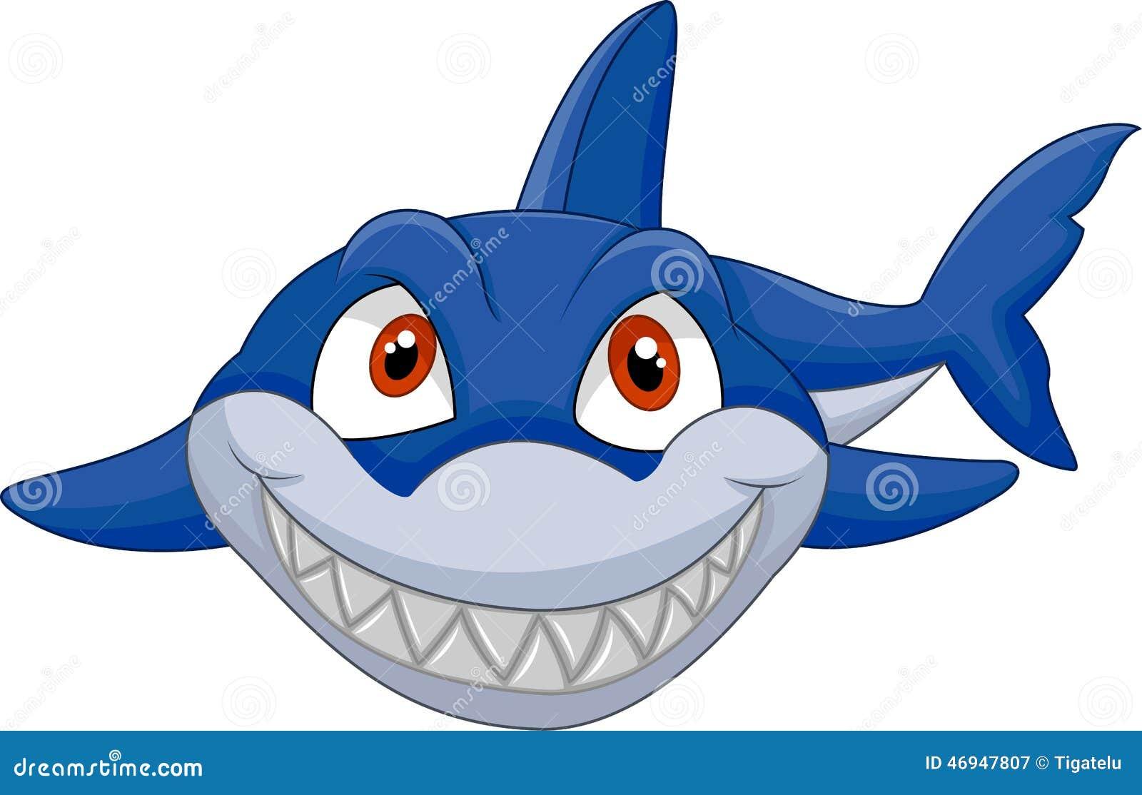 Cartoon shark smiling stock vector. Illustration of fear ...