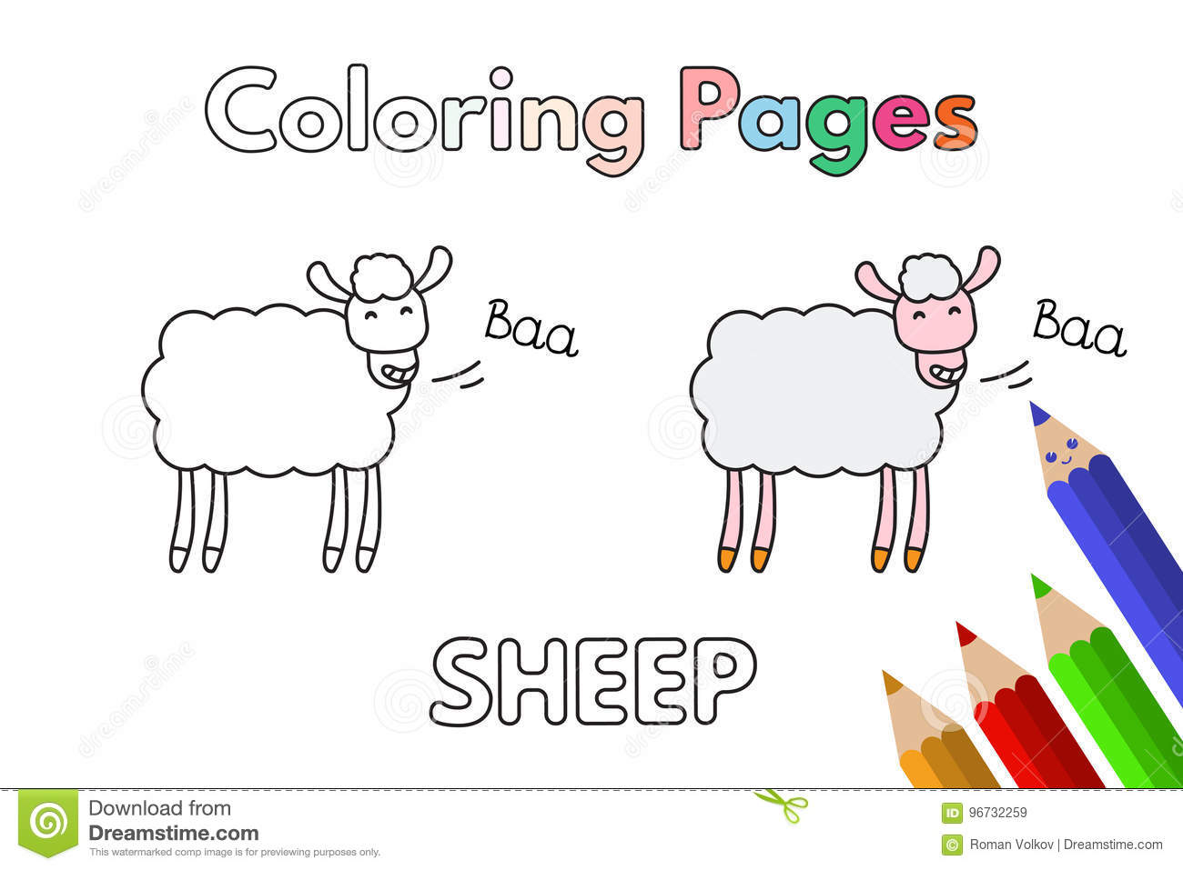 Cartoon Sheep Coloring Book Stock Vector - Illustration of fluffy ...