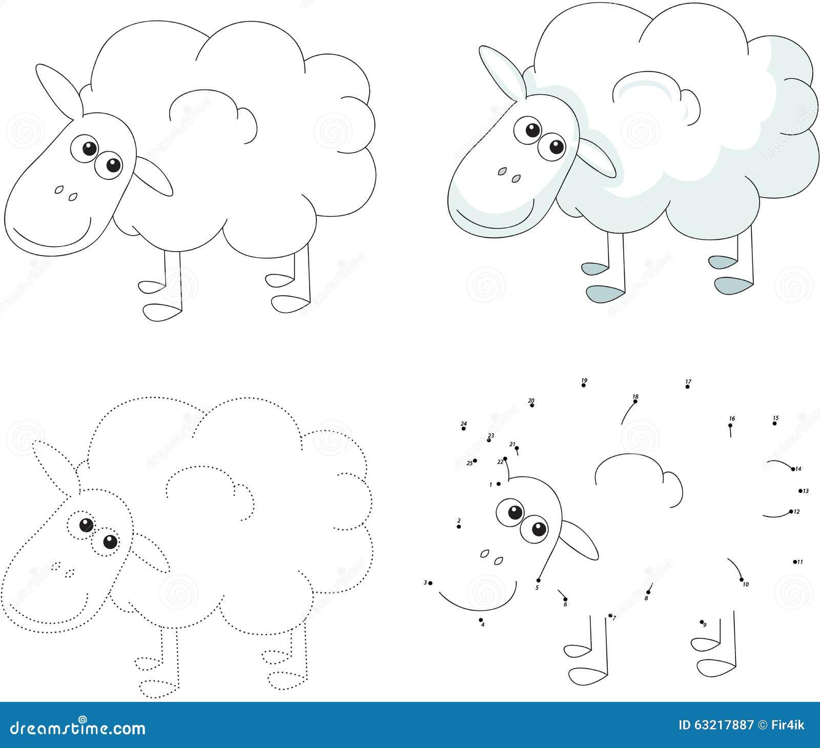 cartoon sheep vector illustration dot to dot game for kids stock