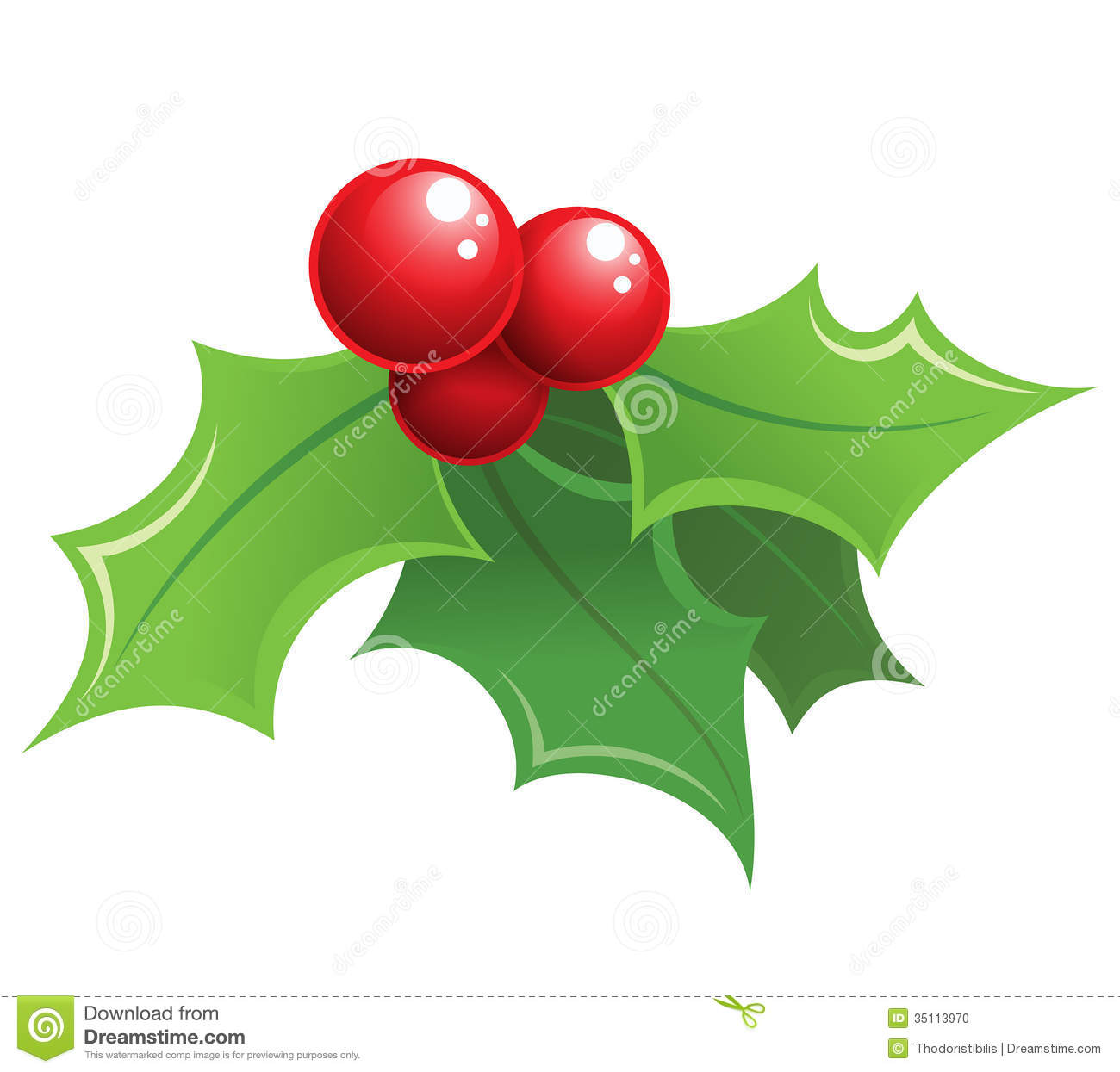 Holly christmas ornaments - Cartoon Shiny Christmas Holly Decorative Ornament