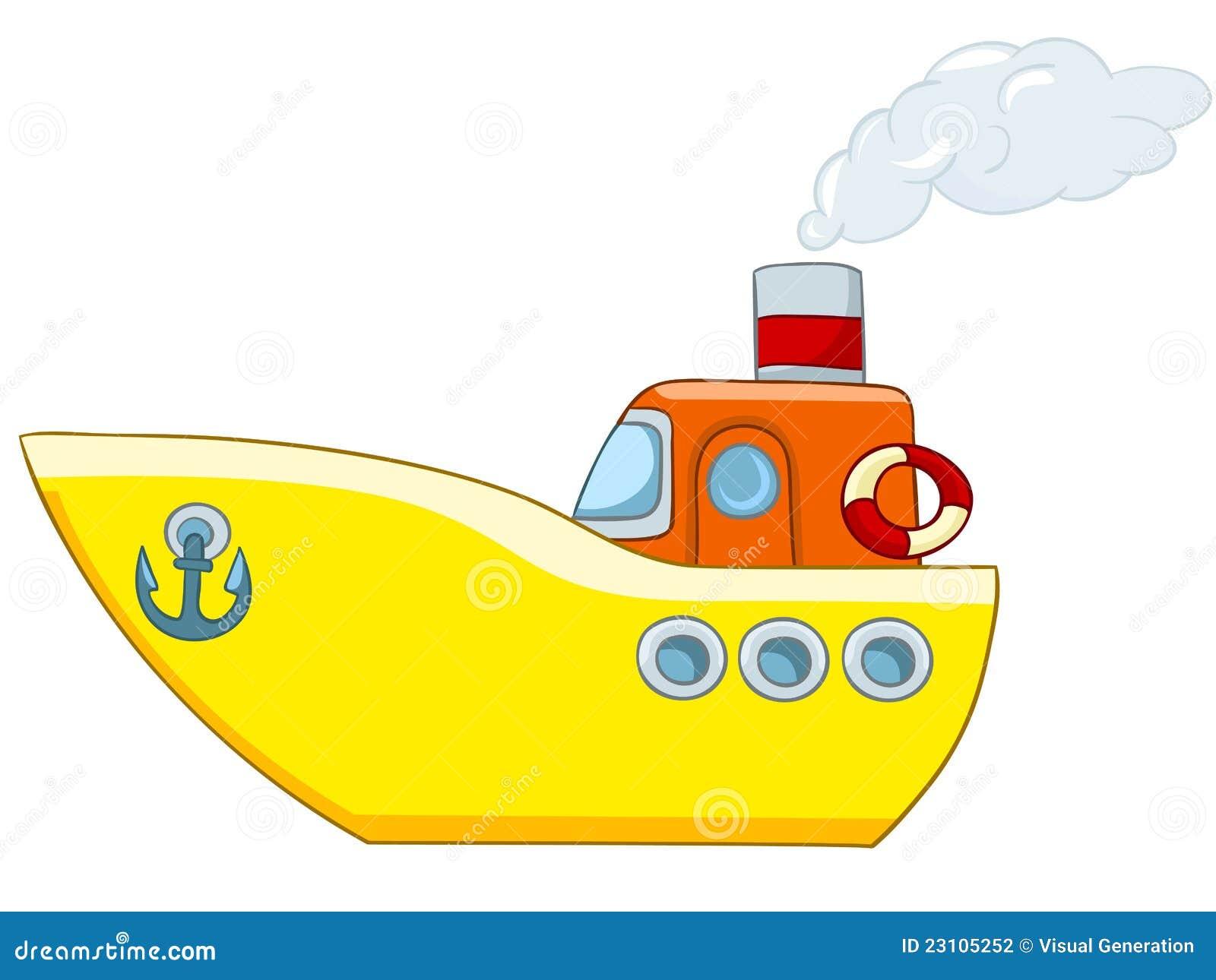 Cartoon Illustration Ship Isolated on White Background.