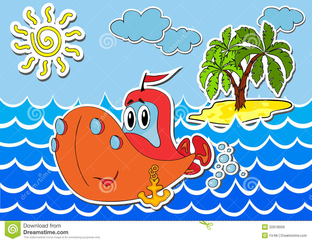 Cartoon ship in waves at sea against the island. Vector illustration.