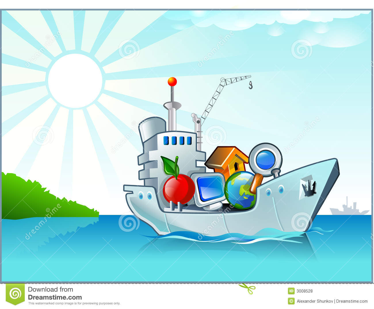 Cartoon Ship With Some Icons Stock Illustration