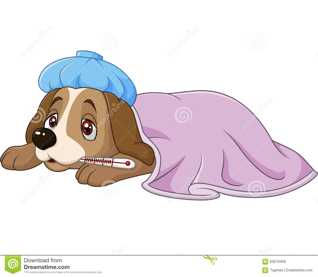 Cartoon Sick Dog With Ice Bag And Thermometer , Isolated