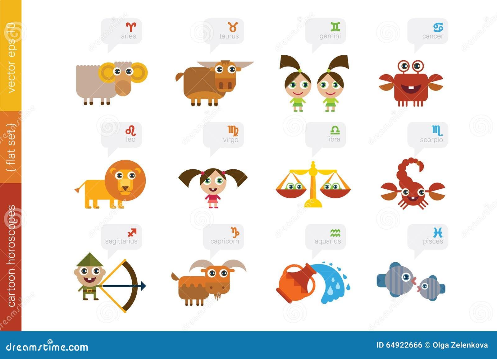 Zodiac signs cute cartoon characters stock vector illustration cartoon signs of zodiac royalty free stock image buycottarizona Images