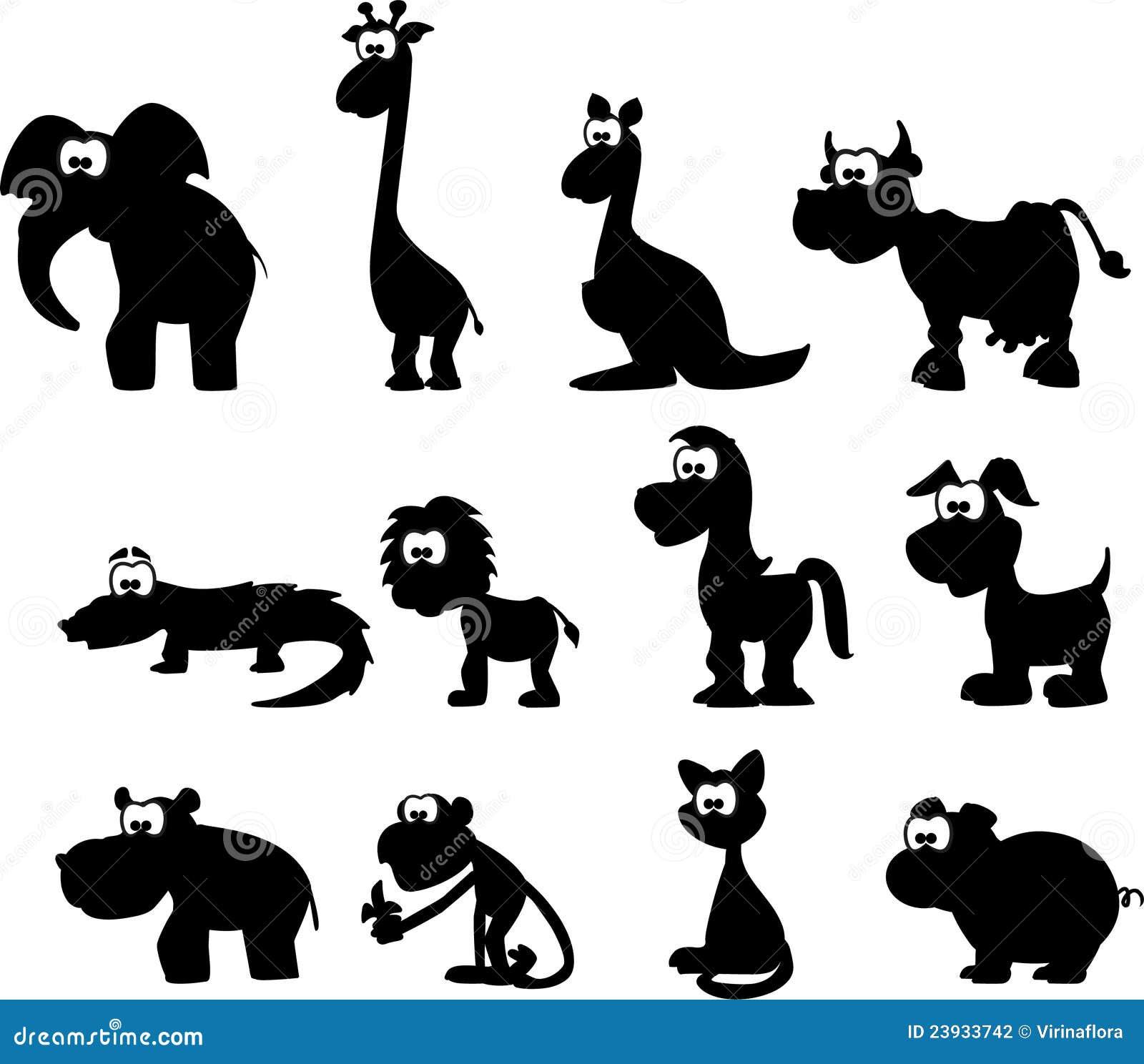 Cartoon Silhouettes Of Animals,vector Stock Vector - Image ...