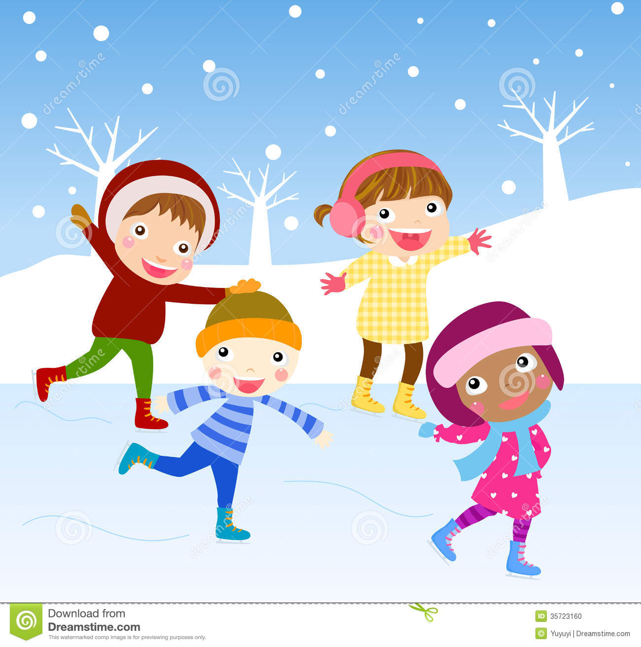 Cartoon Skating Kids Stock Photo - Image: 35723160