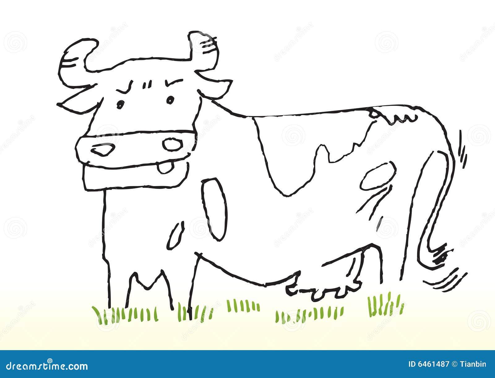 Cartoon Sketch of Cow