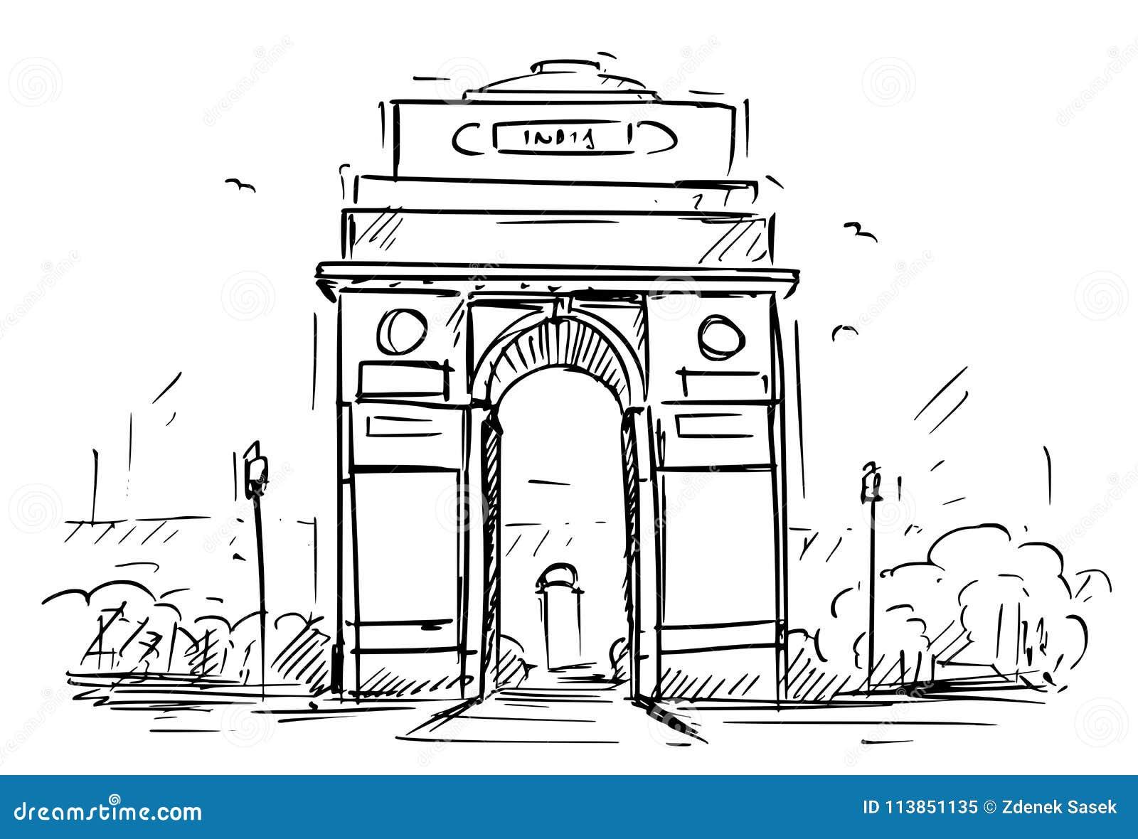 Cartoon sketch of the india gate new delhi india stock