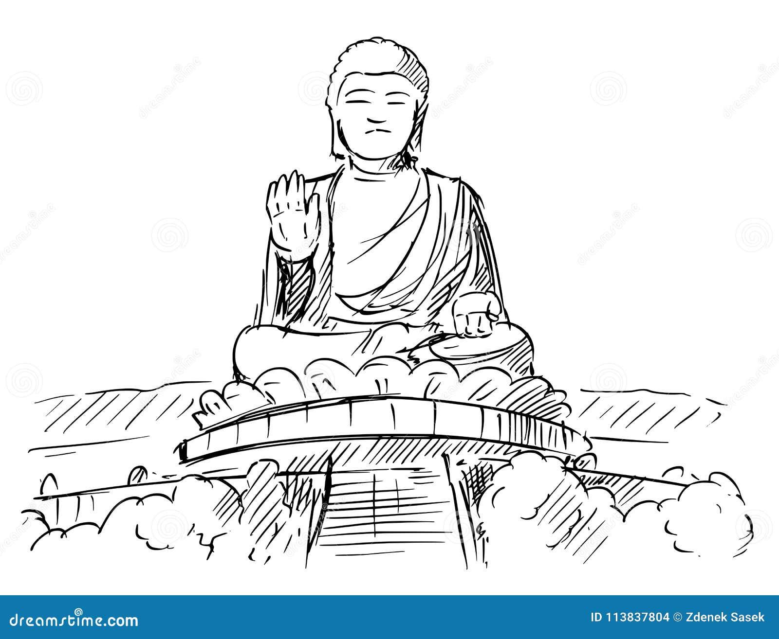 Cartoon sketch drawing illustration of tian tan or big buddha statue ngong ping lantau island hong kong
