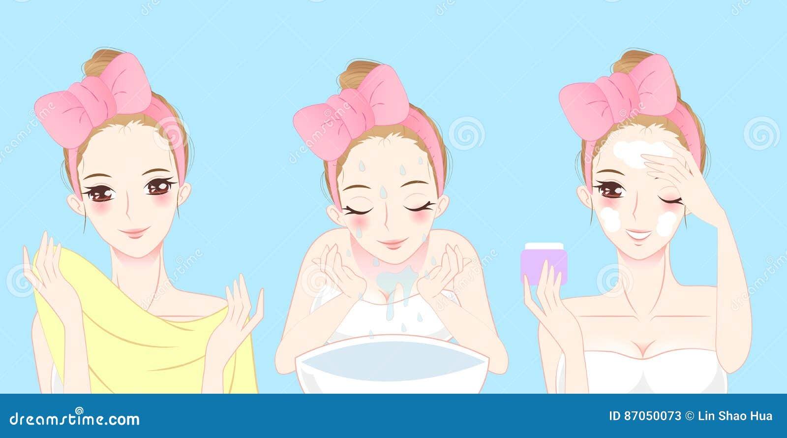 Cartoon Skin Care Woman Stock Illustration Illustration Of Healthy 87050073