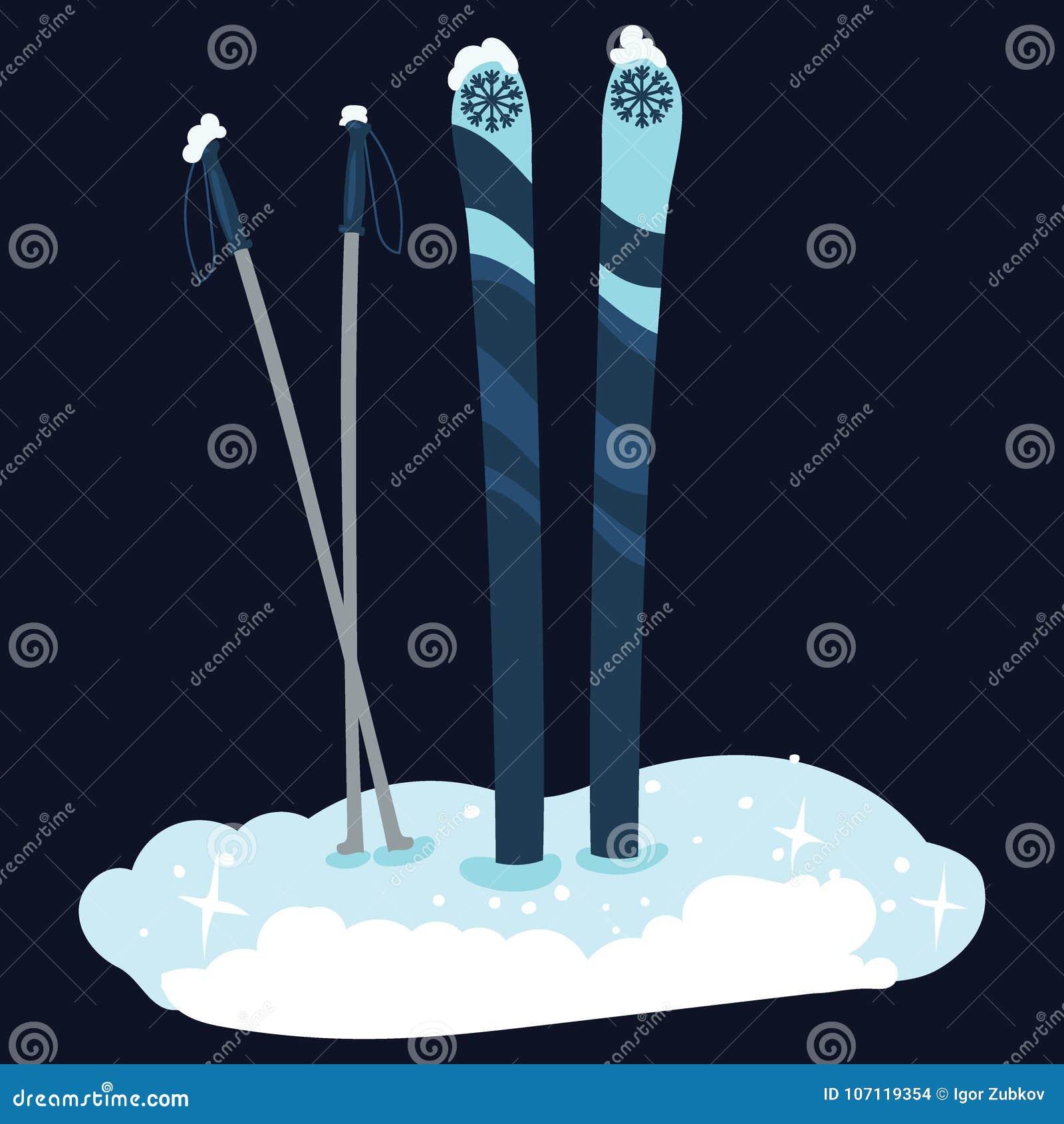 Cartoon skis in the snow. Winter sport. Vector illustration