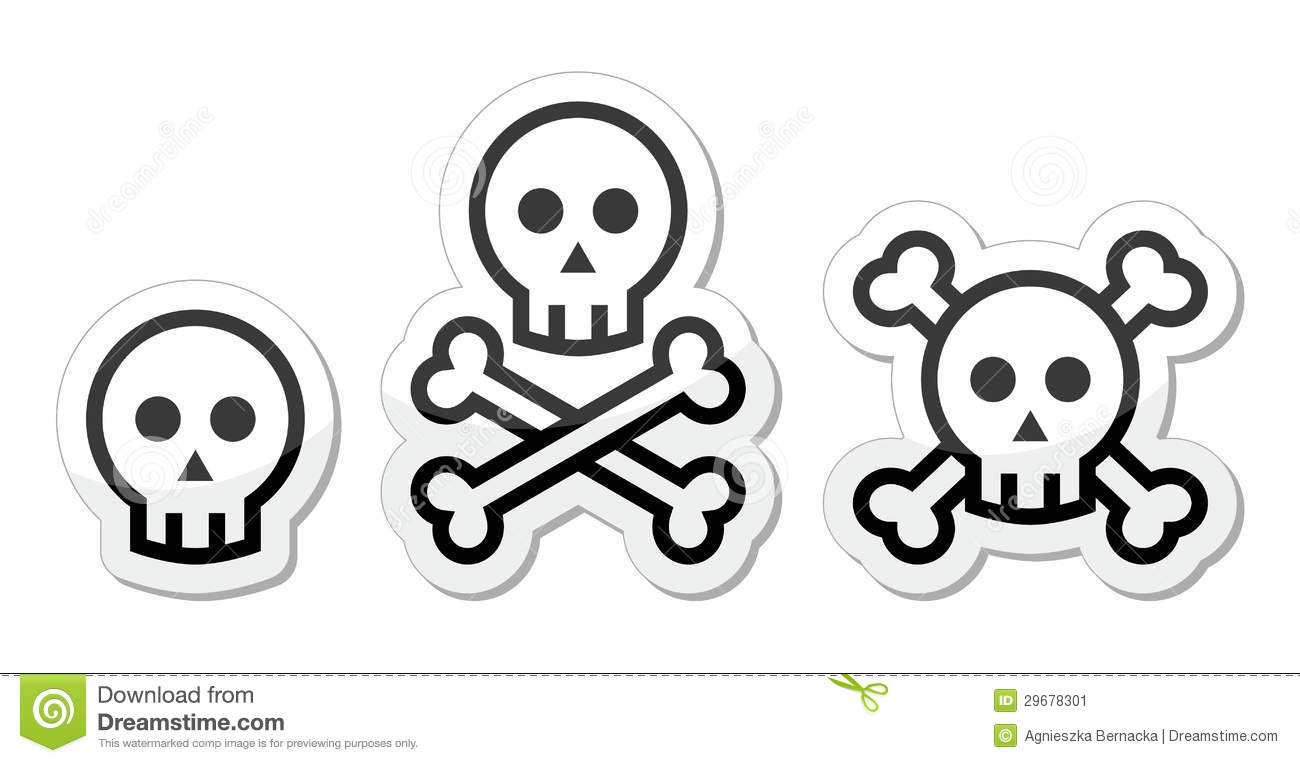 Cartoon Skull With Bones Icon Set Royalty-Free Stock Photo ...