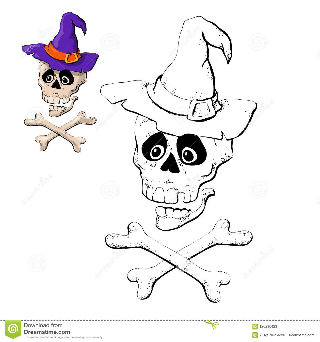Skull And Crossbones Coloring Page Vector Illustration Stock