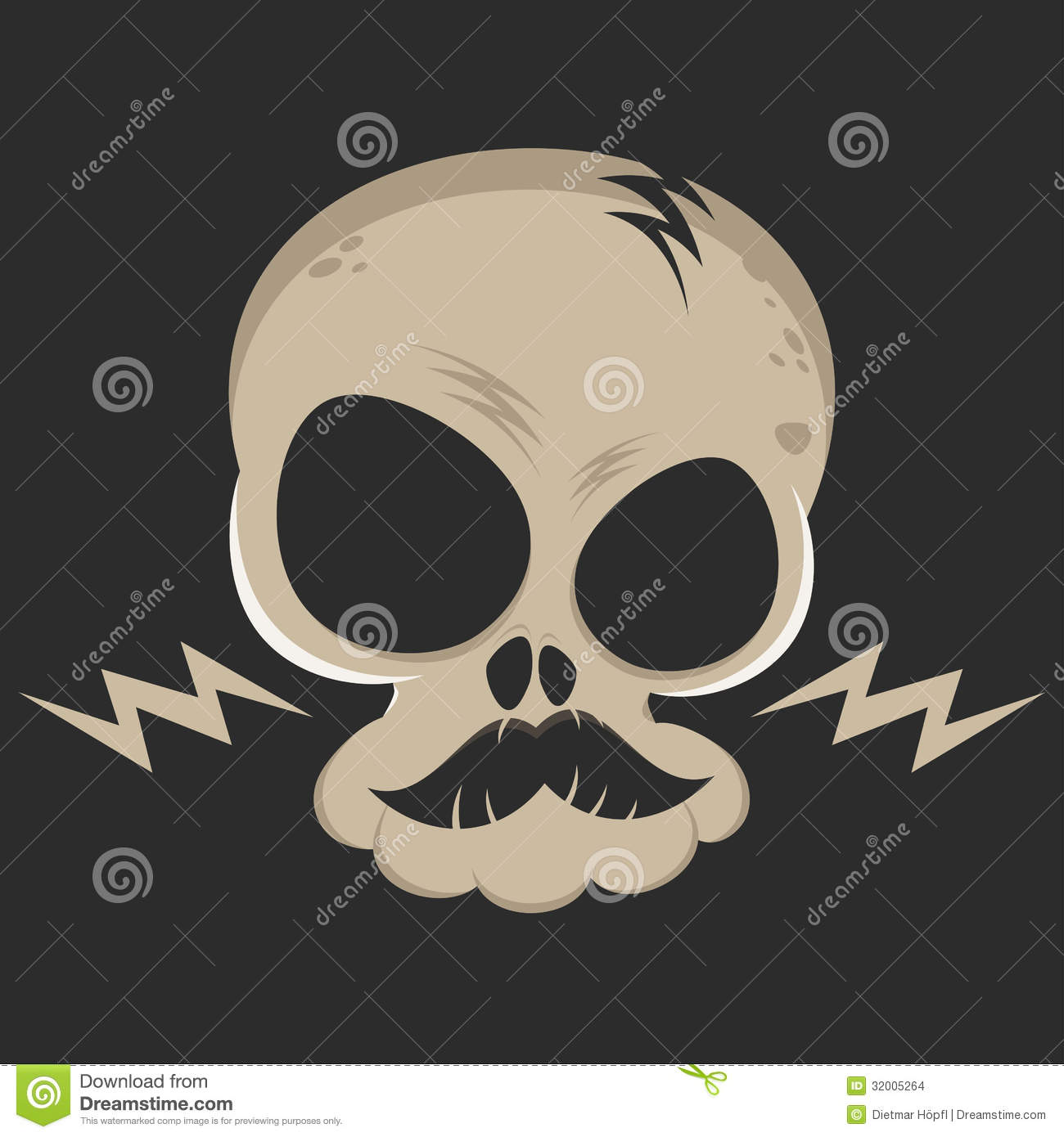 Cartoon Skull With Lightning Bolts Stock Images Image