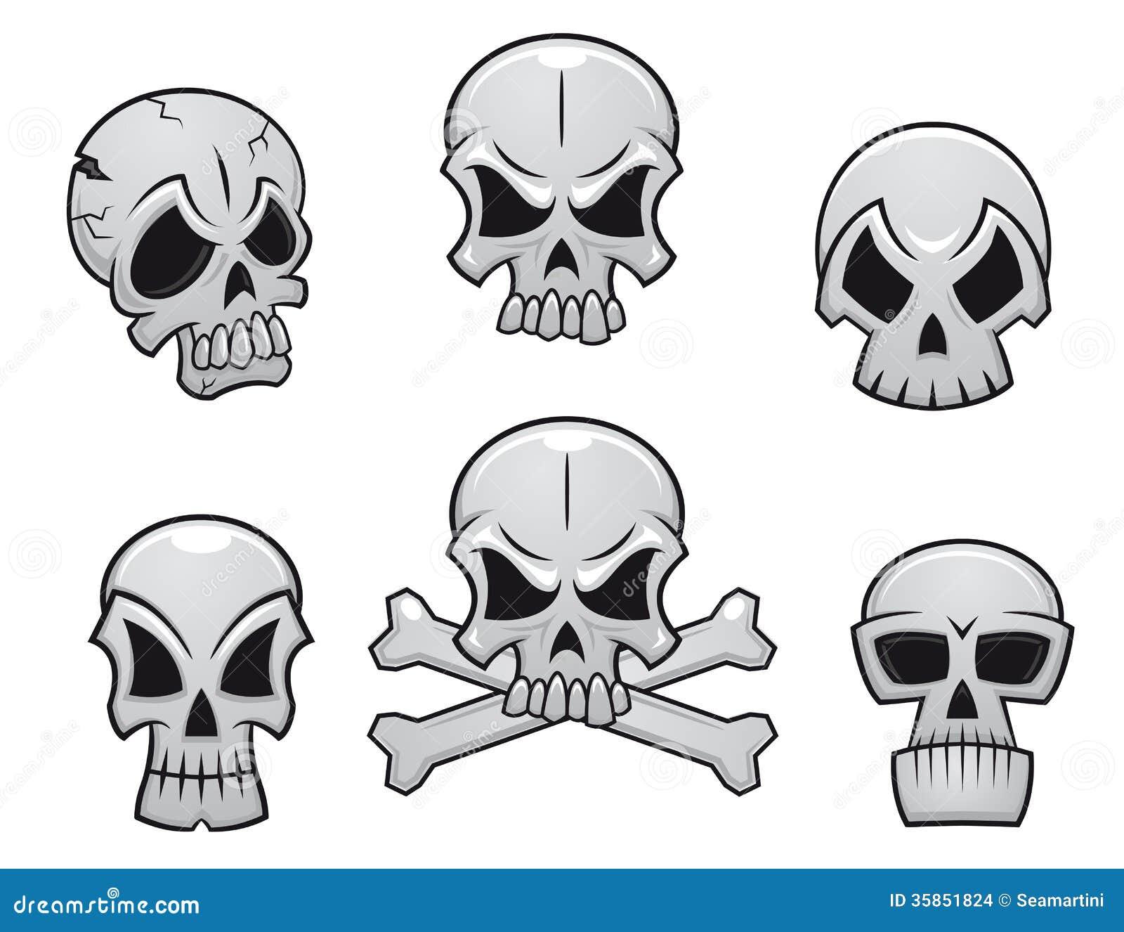 Cartoon skulls set for scary, hallooween or another danger concept ...