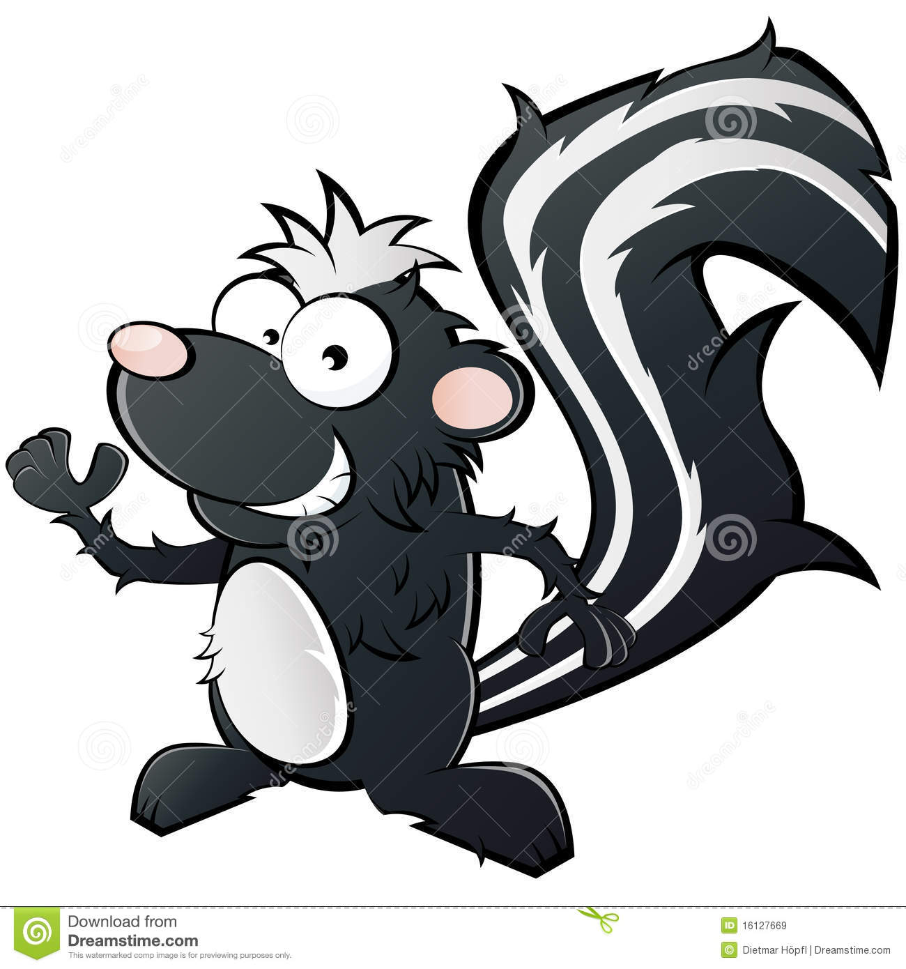 Cartoon illustration of smiling skunk, isolated on white background.