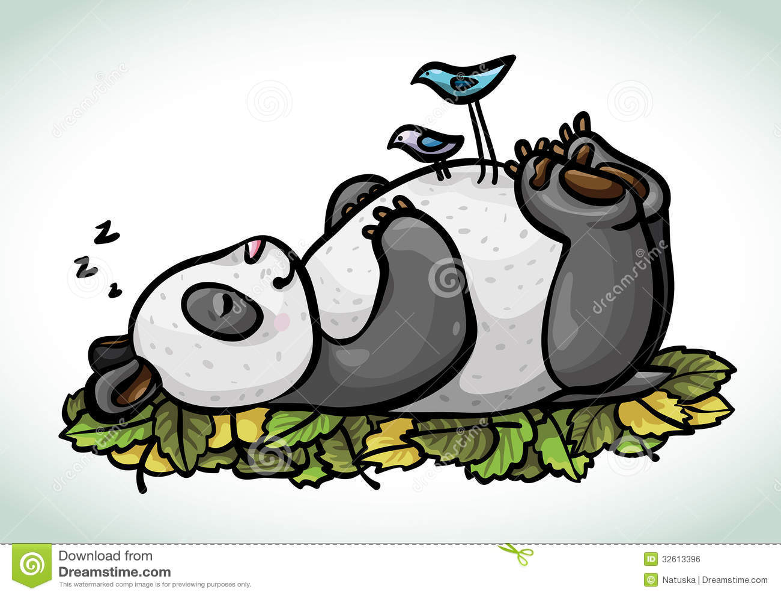 Cartoon Sleeping Panda And Birds Royalty Free Stock Image
