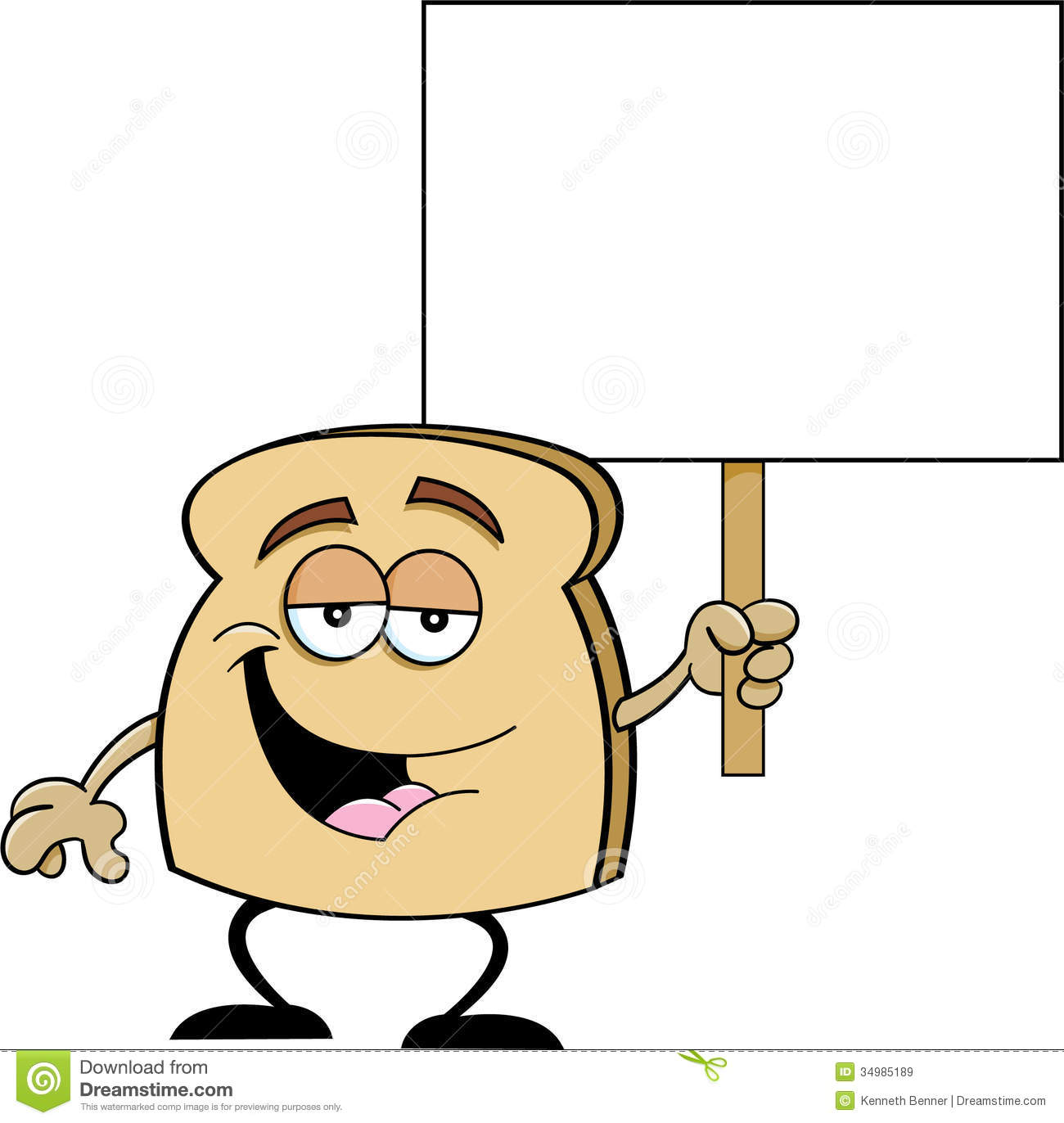 Cartoon Slice Of Bread Holding A Sign Royalty Free Stock Images ...