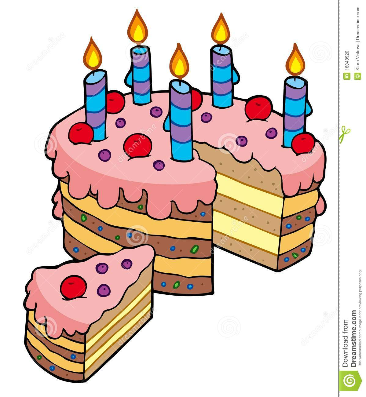Cartoon Sliced Birthday Cake Stock Vector Illustration of clipart