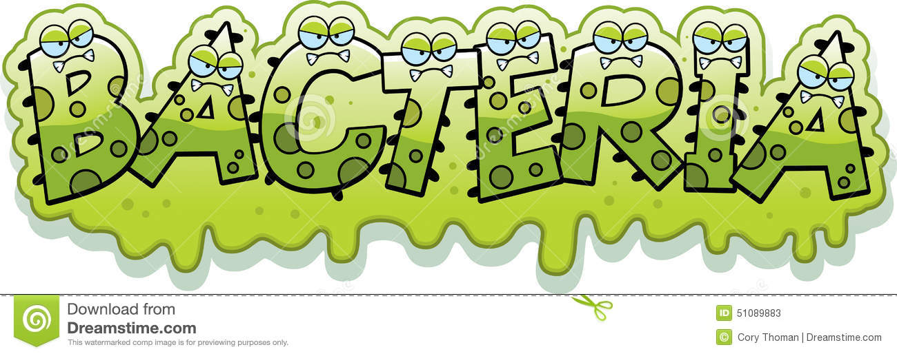 cartoon illustration of the text Bacteria with a slimy germ theme.