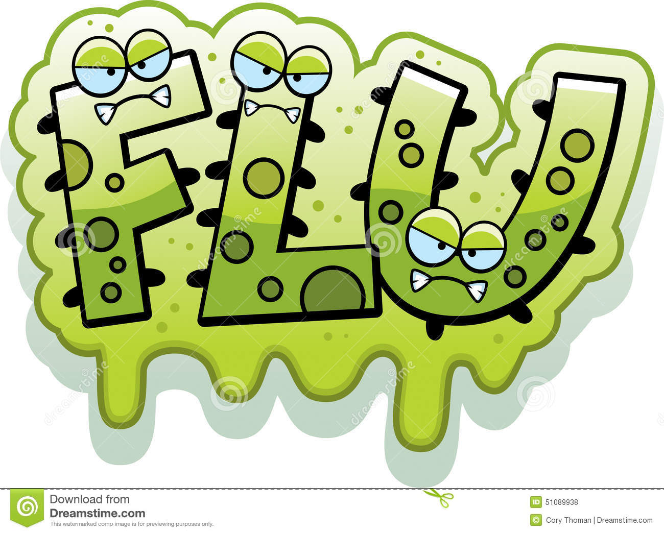 cartoon illustration of the text Flu with a slimy germ theme.