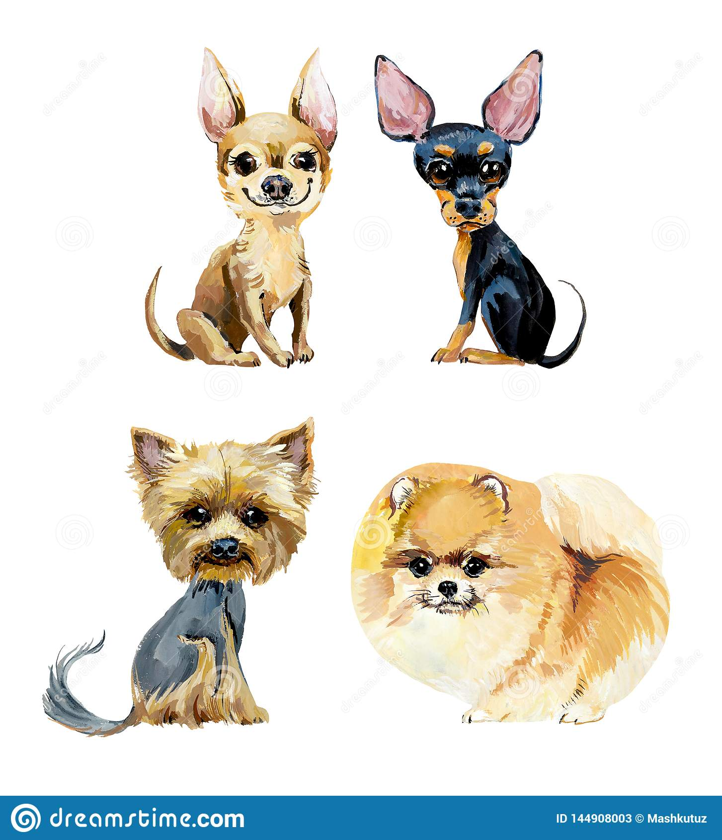 Cartoon small dogs. Gouache hand drawn illustration